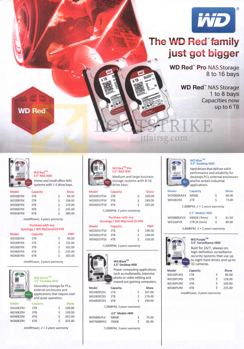 PC SHOW 2015 price list image brochure of Western Digital WD NAS Storage Internal Hard Disk Red, Red Pro, Blue, Purple, Black, Green