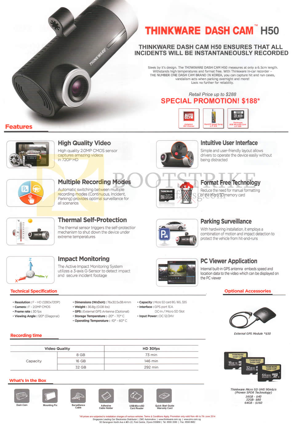 PC SHOW 2015 price list image brochure of ZMC Automotive Dash Cam H50