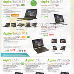 Notebooks Aspire Switch 10E, 11, 12, ES11, ES13, V11 Touch, Aspire SW5-271, 171P, 171, SW3-013, ES1-131, 311, V3-112P