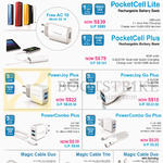 Powerbanks, Quick Chargers, Cables, PocketCell Lite, Plus, PowerJoy Plus, PowerComb Plus, Go Plus, Magic Cable Duo, Trio