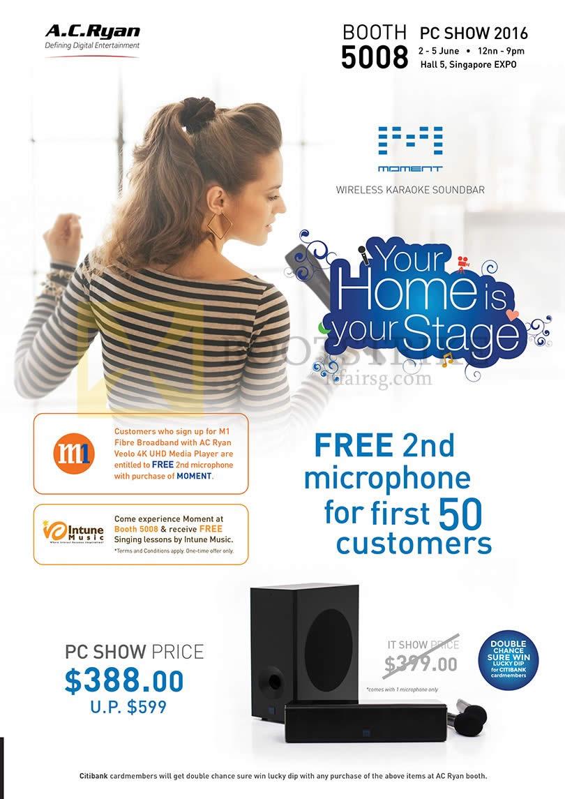 PC SHOW 2016 price list image brochure of AC Ryan Moment Wireless Karaoke Soundbar