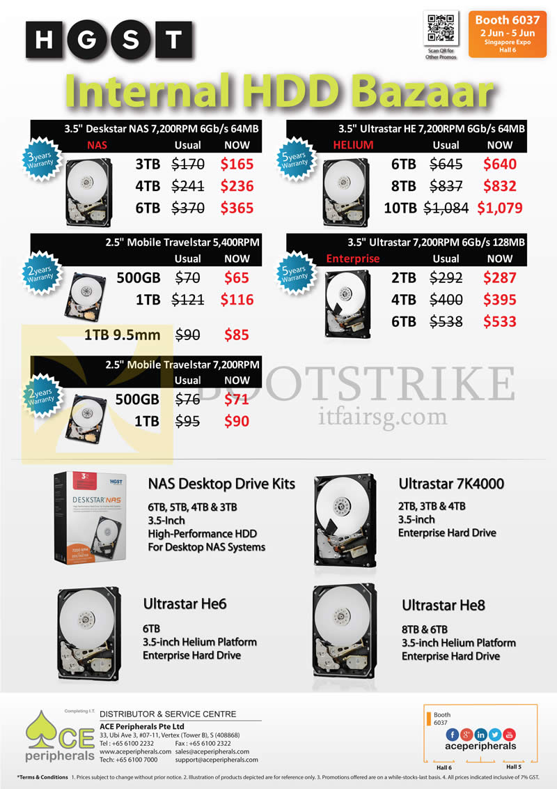 PC SHOW 2016 price list image brochure of ACE Peripherals Internal HDD Bazaar Deskstar NAS, Ultrastar HE, Mobile Travelstar, Ultrastar, 500GB, 1TB, 2TB, 3TB, 4TB, 6TB, 8TB, 10TB