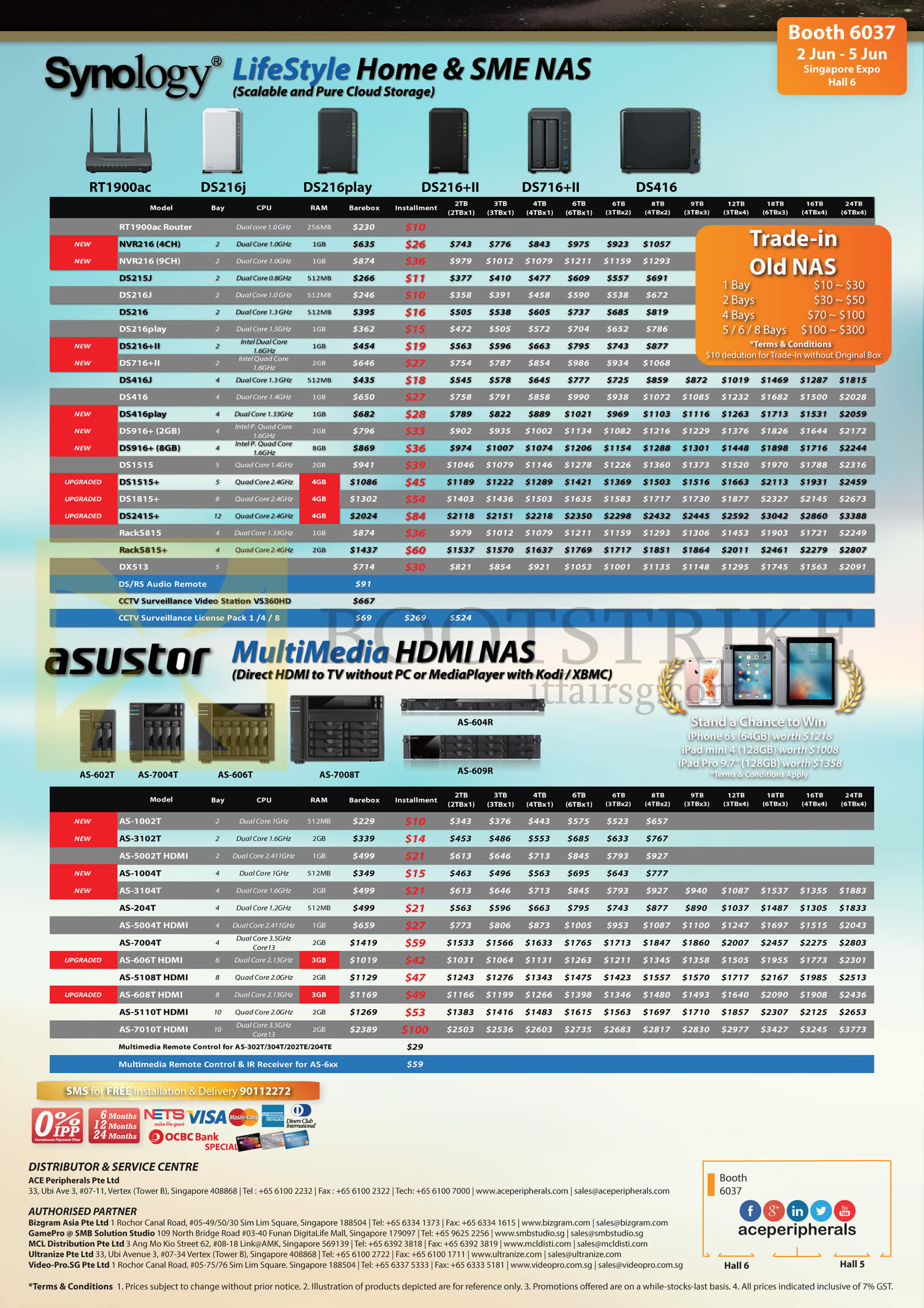PC SHOW 2016 price list image brochure of ACE Peripherals NAS Asustor, Synology, Lifestyle Home SME, Multimedia HDMI NAS