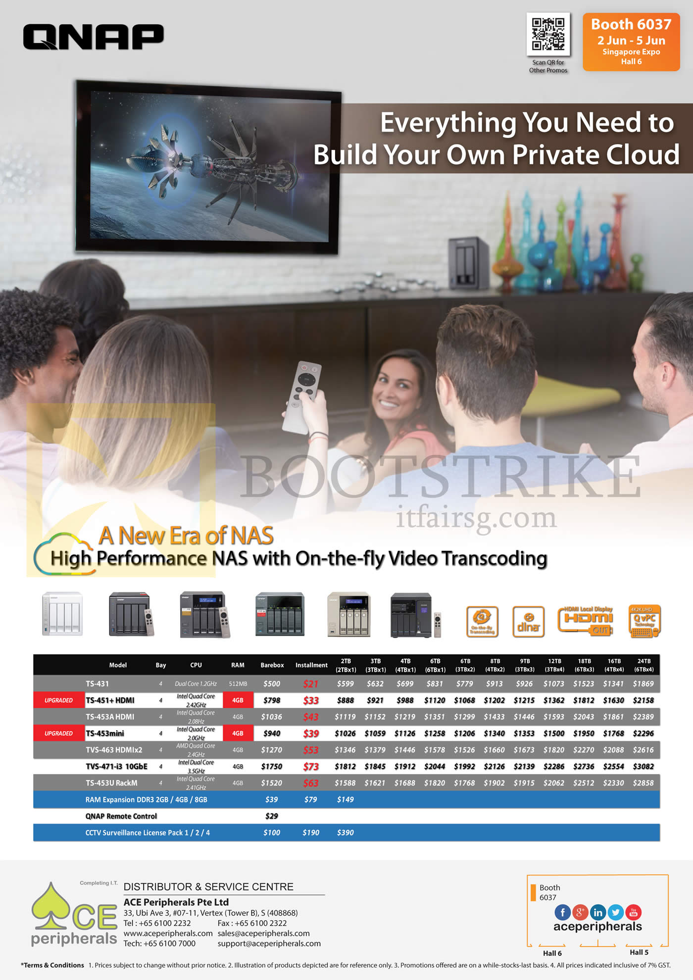 PC SHOW 2016 price list image brochure of ACE Peripherals NAS QNAP TS-431, 451, 451Plus, 453AHDMI, TVS-453mini, TVS 463, TVS 471, TS-453U Rack M, RAM Expansion DDR3, QNAP Remote Control, CCTV