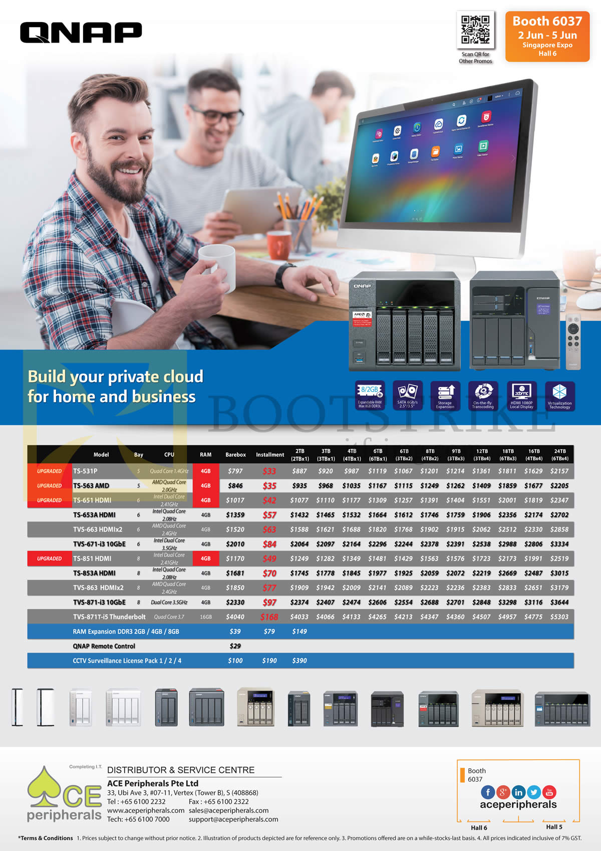 PC SHOW 2016 price list image brochure of ACE Peripherals Private Cloud QNAP TS-531P, 563 AMD, 651 HDMI, 653A HDMI, TVS 663 HDMIx2, 671-i3 10GbE, 851, 853A, 863, 871-i3, 871T-i5 Thunderbolt