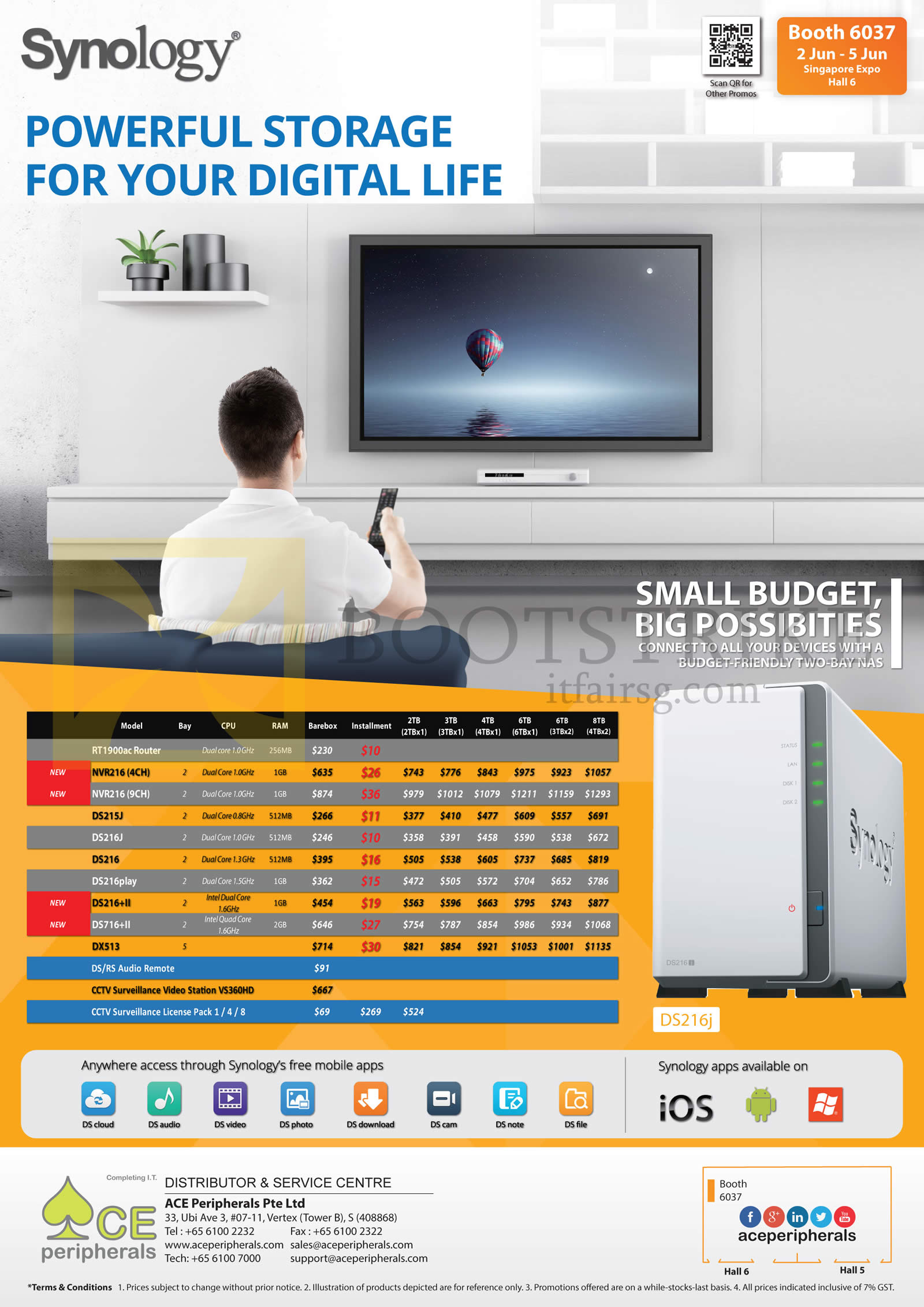 PC SHOW 2016 price list image brochure of ACE Peripherals Synology NAS Storage RT1900ac, NVR216, DS215J, DS216J, DS216, DS216Plus, DS716plus, DX513, DS RS Audio Remote, CCTV