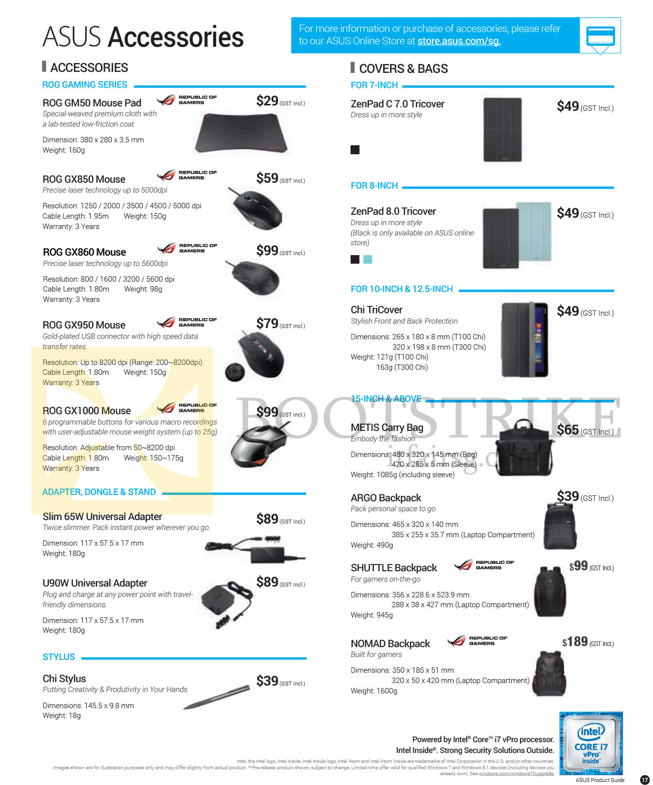 PC SHOW 2016 price list image brochure of ASUS Accessories ROG GM50 Mouse Pad, GX850, GX860, GX950, GX1000 Mouse, Slim 65W Universal Adapter, U90W, Chi Stylus, ZenPad 8.0 Tricover, METIS Carry Bag, ARGO Backpack