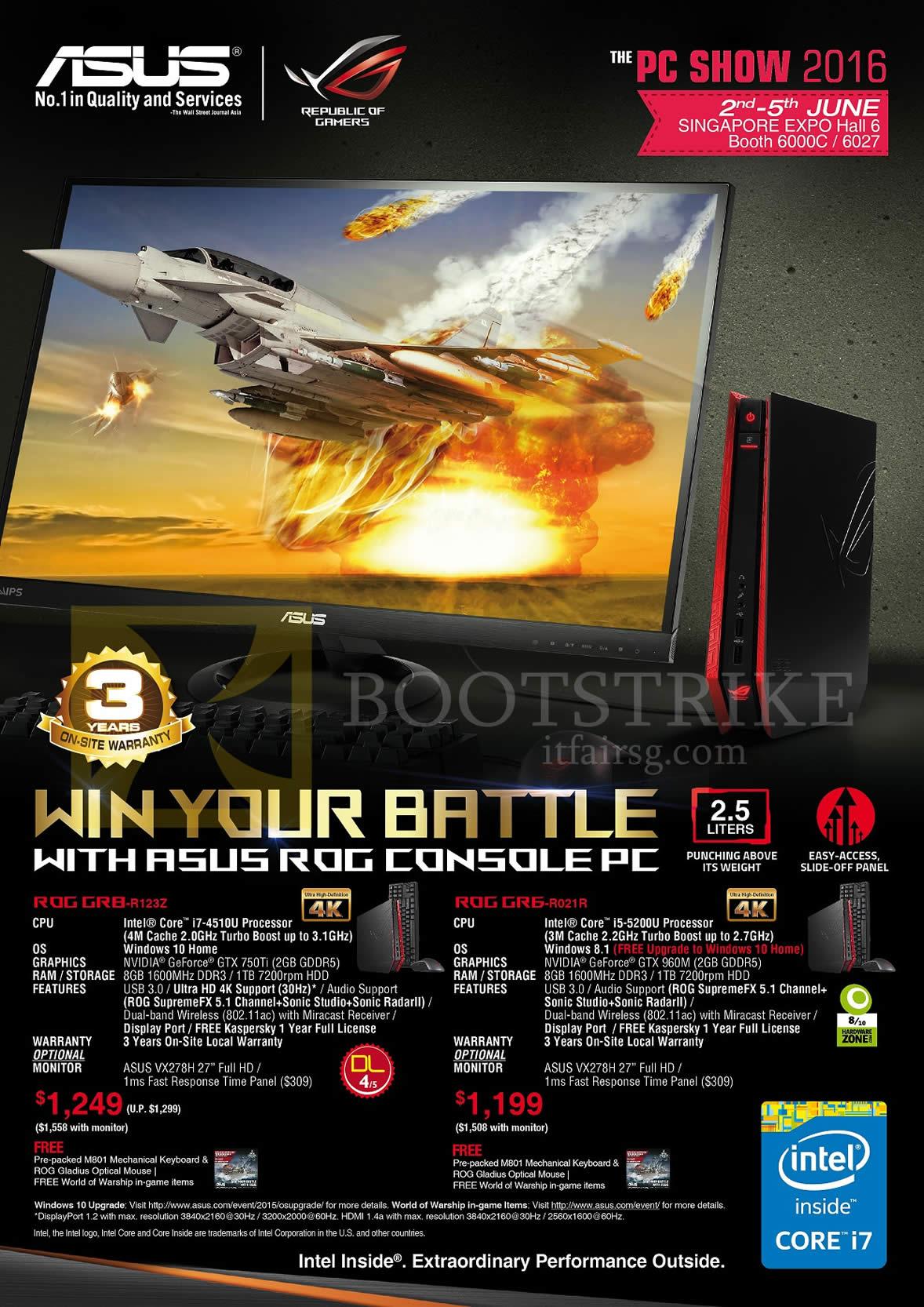 PC SHOW 2016 price list image brochure of ASUS Desktop PC Console ROG GR8-R123Z, GR6-R021R
