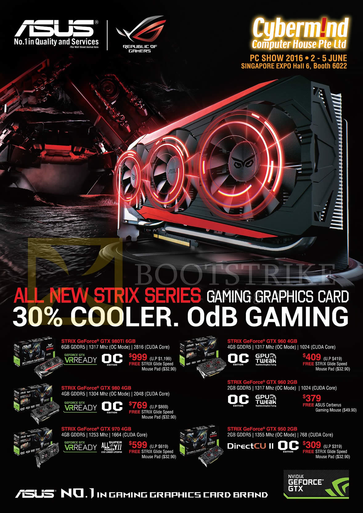 PC SHOW 2016 price list image brochure of ASUS Graphics Video Cards Strix Geforce GTX 980Ti, 980, 970, 960, 950
