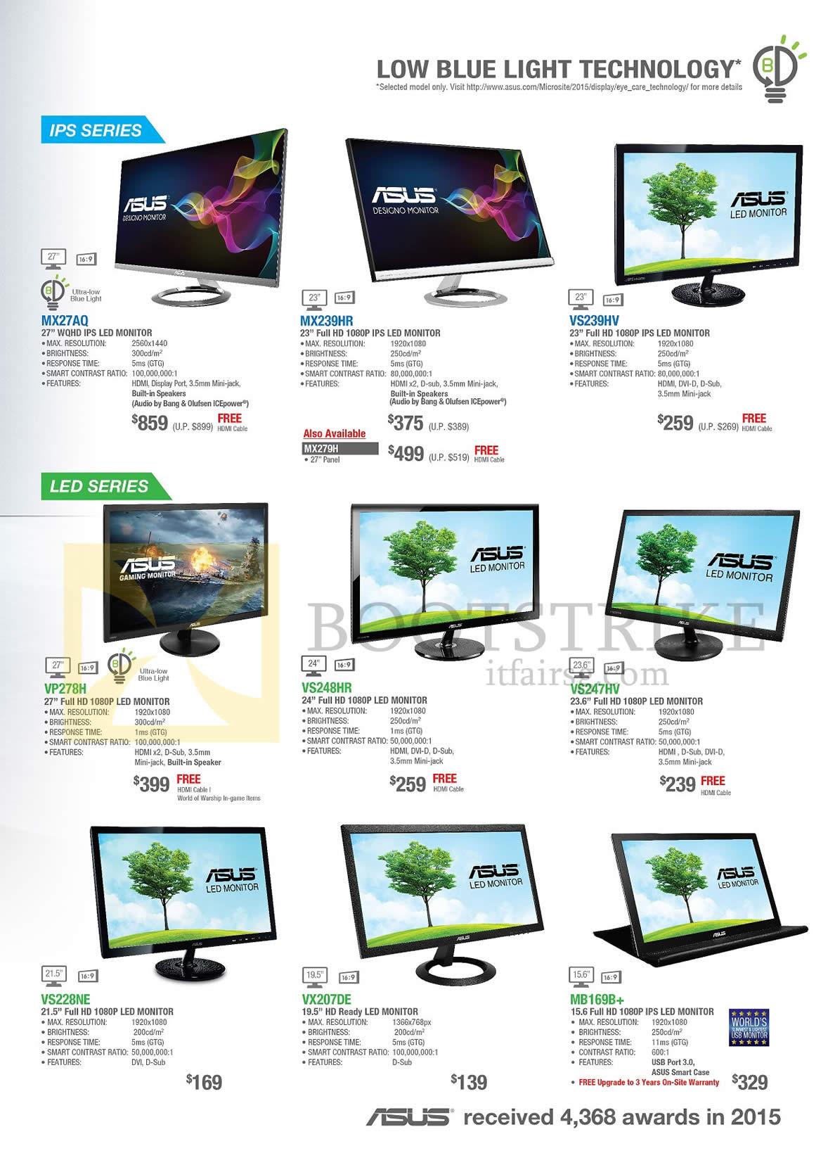 PC SHOW 2016 price list image brochure of ASUS Monitors IPS LED MX27AQ MX239HR VS239HV VP278H VS248HR VS247HV VS228NE VX207DE MB169B+