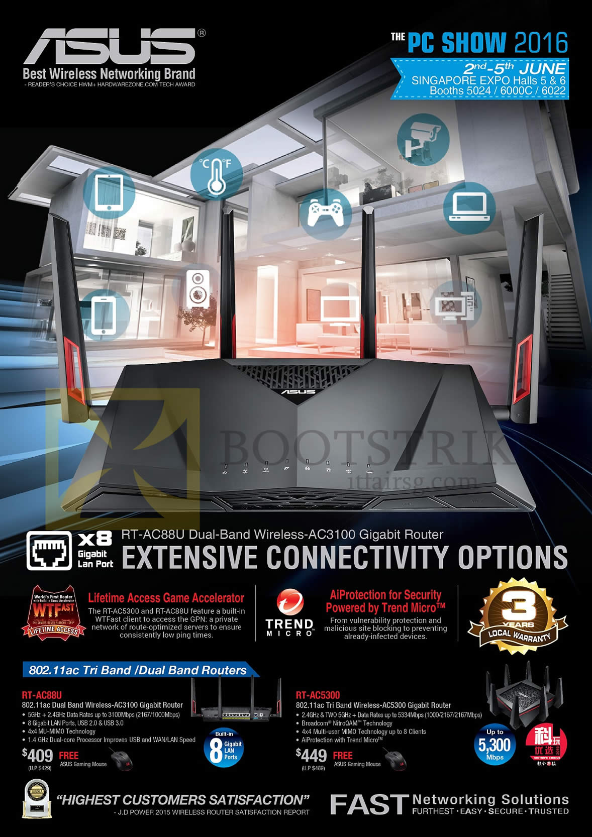 PC SHOW 2016 price list image brochure of ASUS Networking Wireless Routers RT-AC88U, RT-AC5300