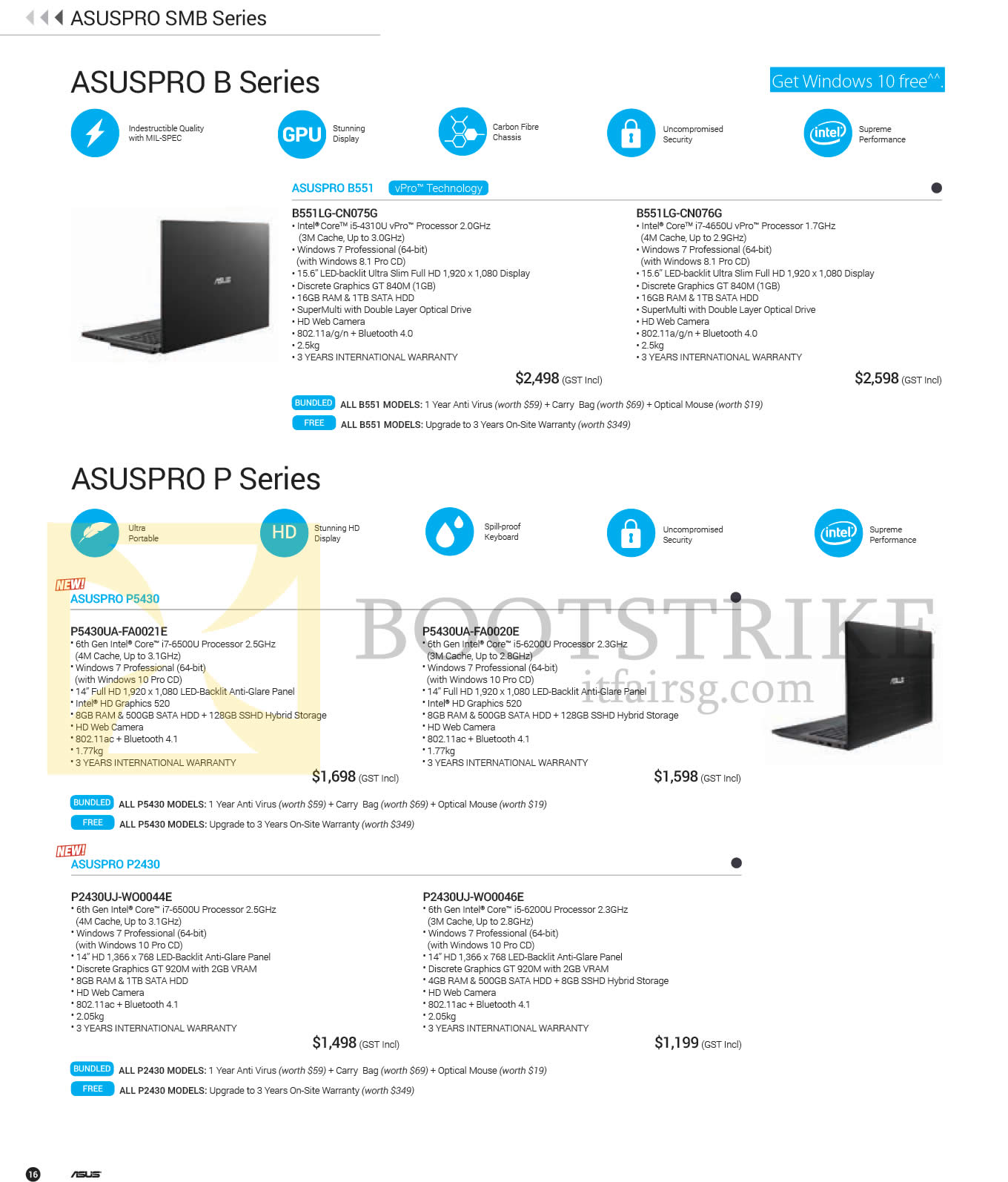 PC SHOW 2016 price list image brochure of ASUS Notebooks ASUSPRO Series, B551LG-CN075G, B551LG-CN076G, P5430UA-FA0021E, P5430UA-FA0020E, P2430UJ-WO0044E, P2430UJ-WO0046E