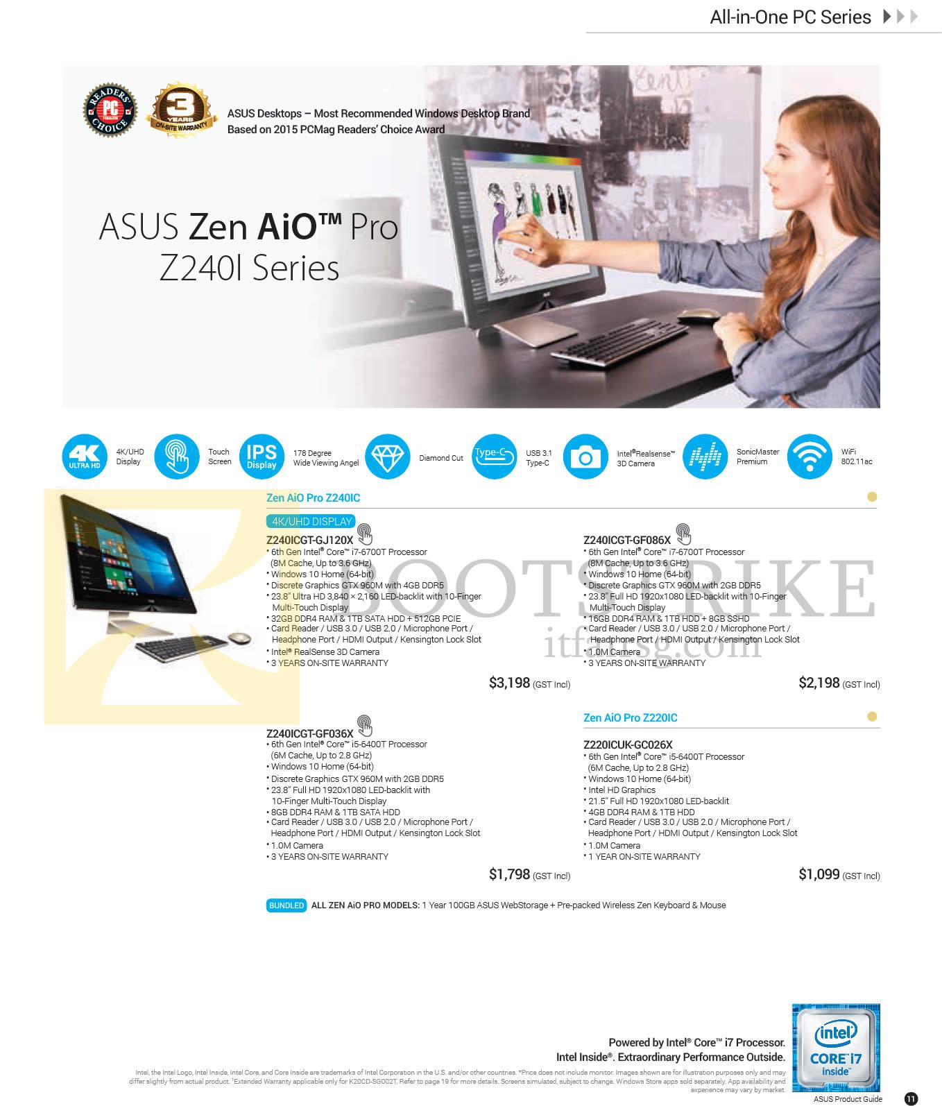 PC SHOW 2016 price list image brochure of ASUS Notebooks Zen AiO Pro Z240I Series, Z240ICGT-GJ120X, Z240ICGT-GF086X, Z240ICGT-GF036X, Z220ICUK-GC026X