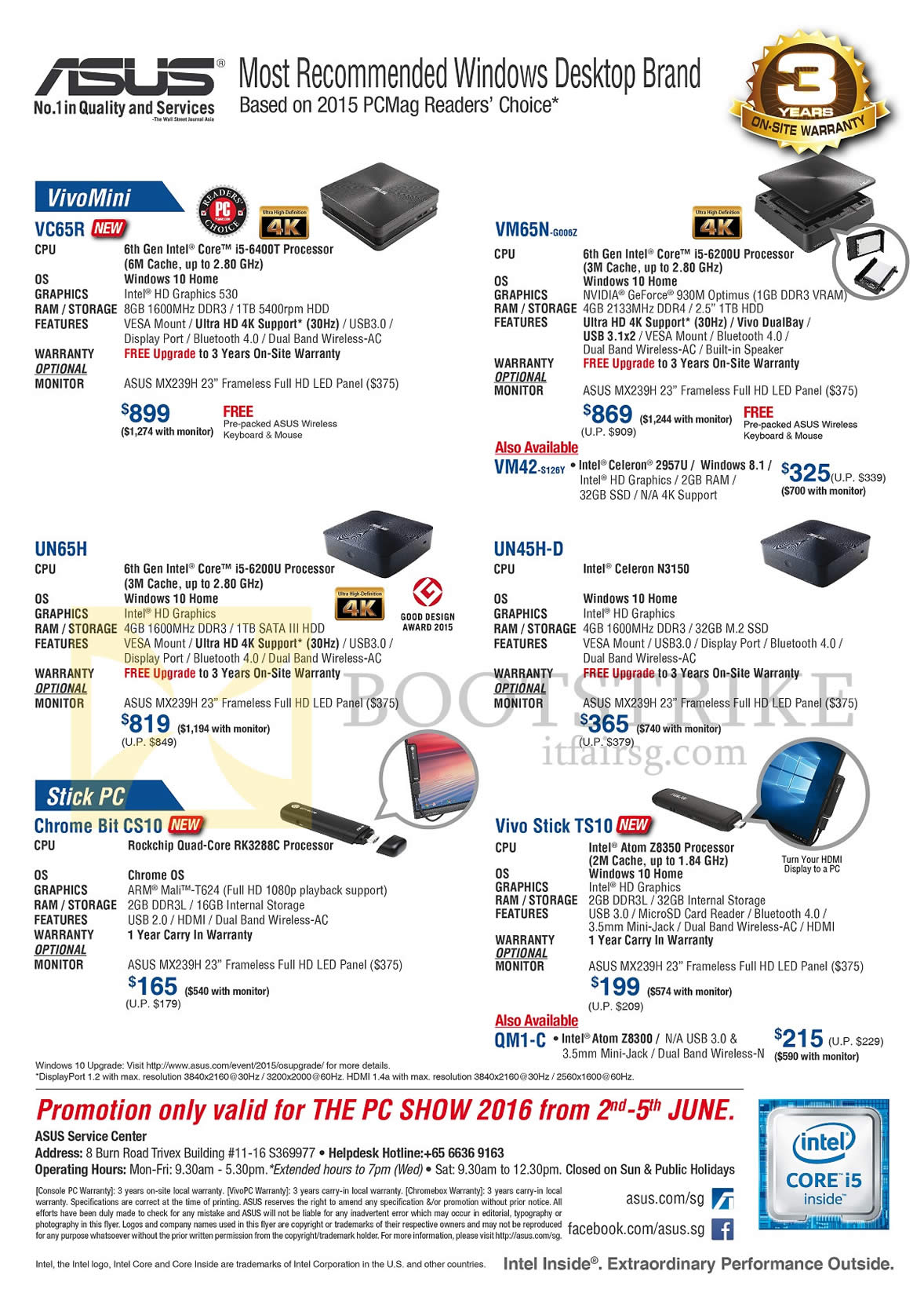 PC SHOW 2016 price list image brochure of ASUS PC Mini VivoMini VC65R, VM65N G006Z, UN65H, UN45H-D, Stick PCs Chrome Bit CS10, Vivo Stick TS10