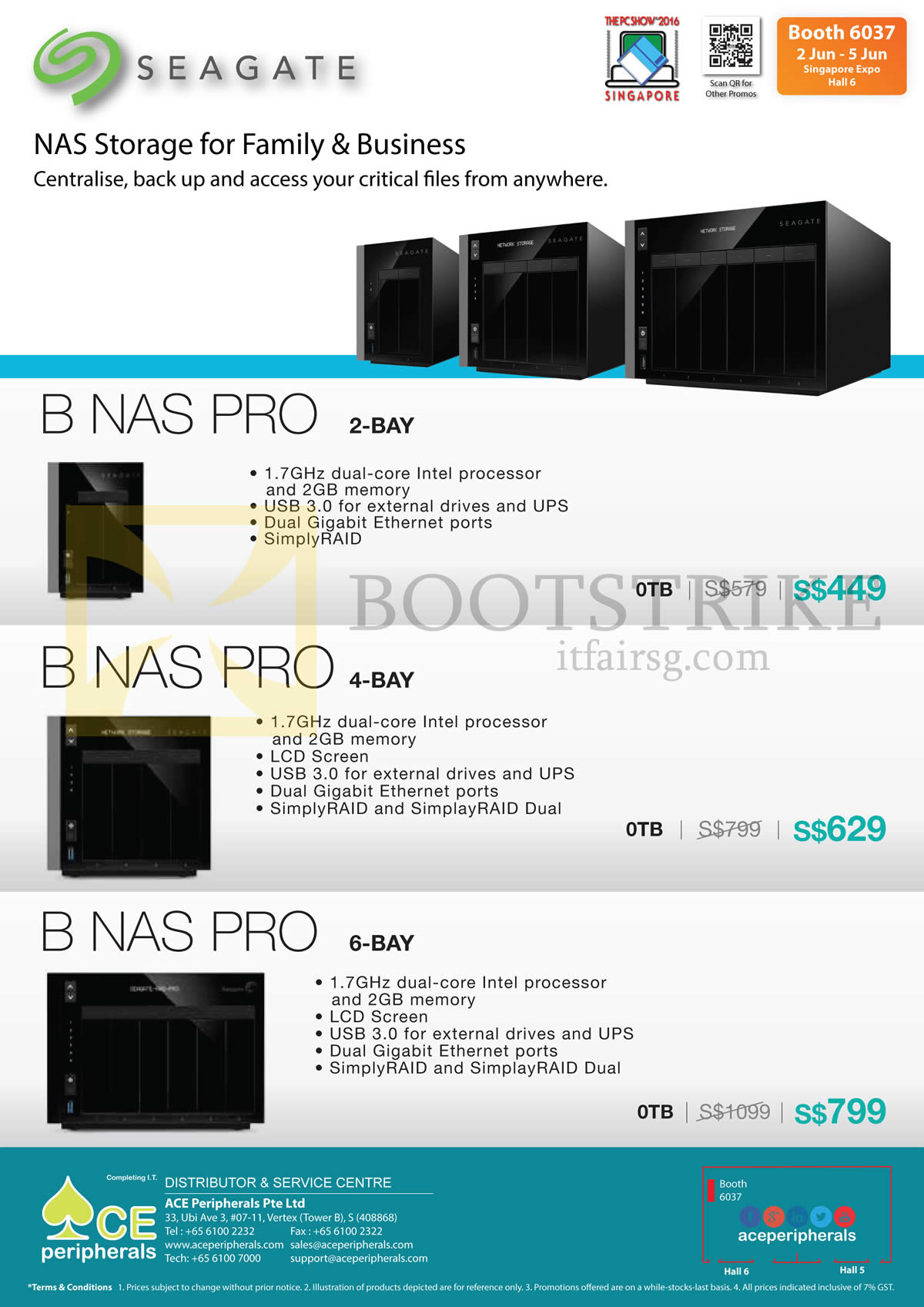 PC SHOW 2016 price list image brochure of Ace Peripherals Seagate Business Storage B NAS Pro 2-Bay, 4-Bay, 6-Bay