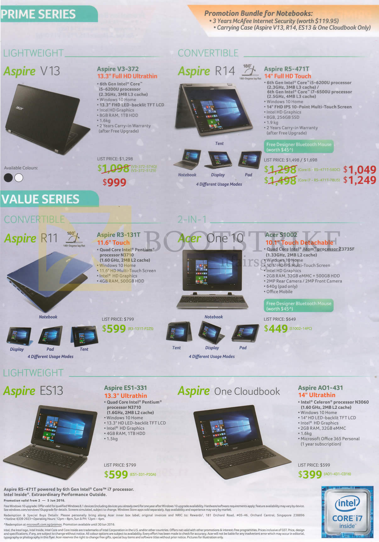 PC SHOW 2016 price list image brochure of Acer Notebooks Aspire V13 R14 R11 ES13 V3-372, R5-471T, R3-131T, S1002, ES1-331, One Cloudbook AO1-431