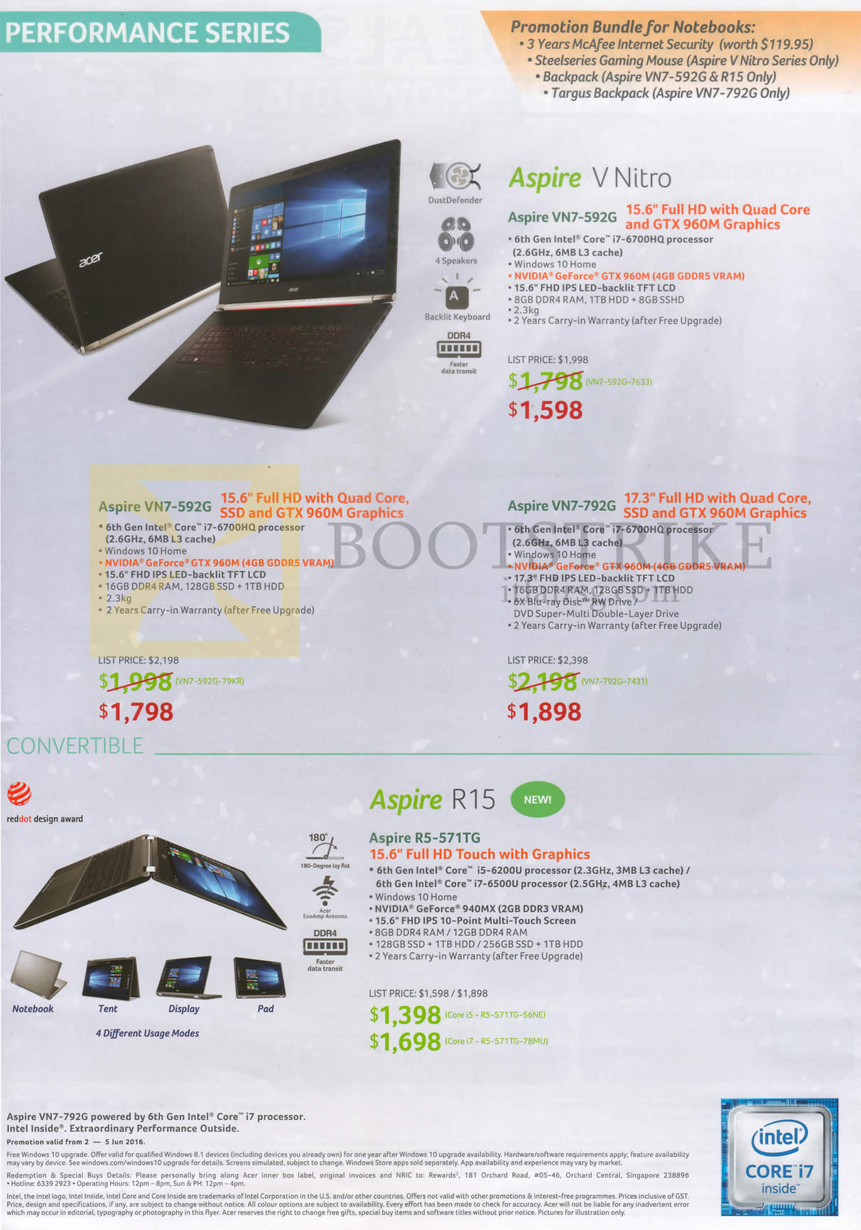 PC SHOW 2016 price list image brochure of Acer Notebooks Aspire V Nitro VN7-592G, 792G, R15 R5-571TG
