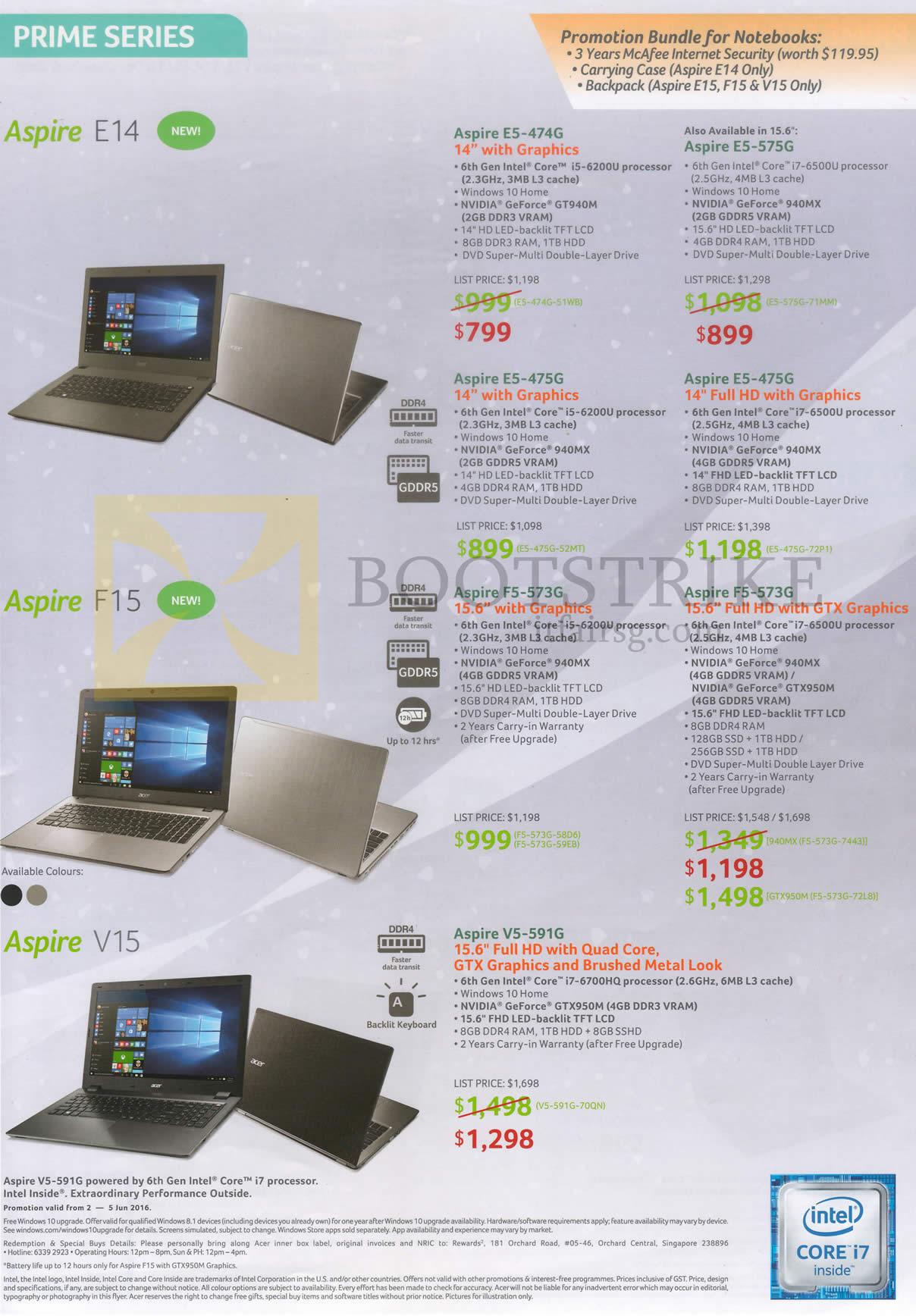 PC SHOW 2016 price list image brochure of Acer Notebooks Prime Series E14 F15 V15 Aspire E5-474G, 475G, 575G, 573G, V5-591G