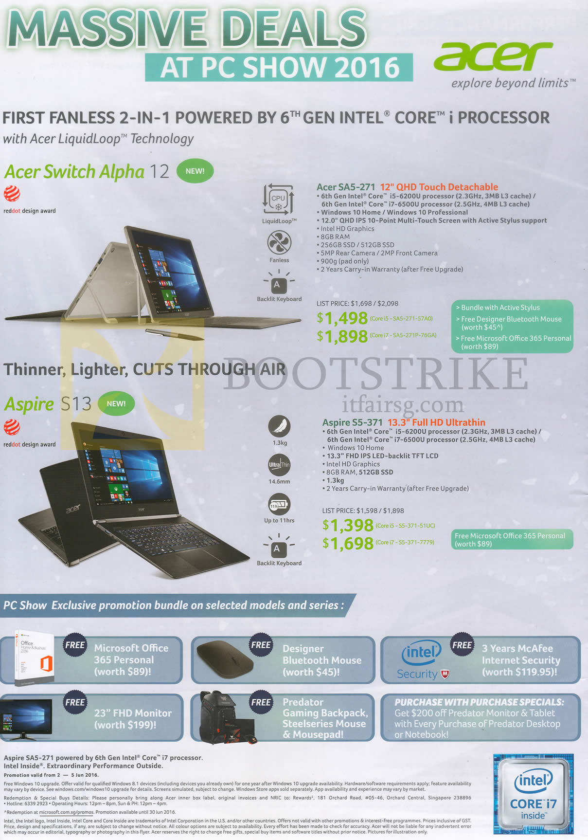 PC SHOW 2016 price list image brochure of Acer Notebooks Swich Alpha SA5-271, Aspire S13 S5-371, Free Gifts Bluetooth Mouse, Microsoft Office 365 Personal, Monitor, Backpack, Internet Security