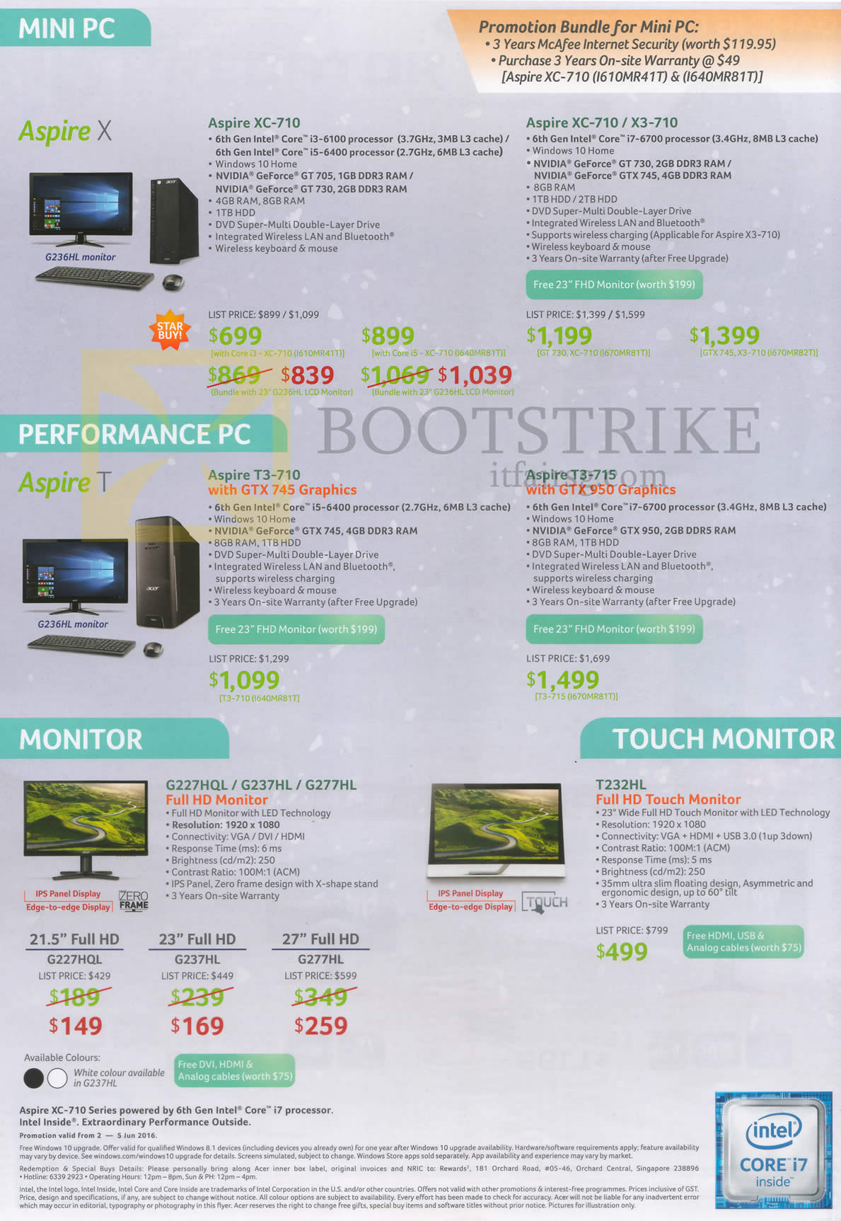 PC SHOW 2016 price list image brochure of Acer Notebooks, Monitors, Aspire XC-710, X3-710, T3-710, T3-715, G227HQL, G237HL, G277HL, T232HL