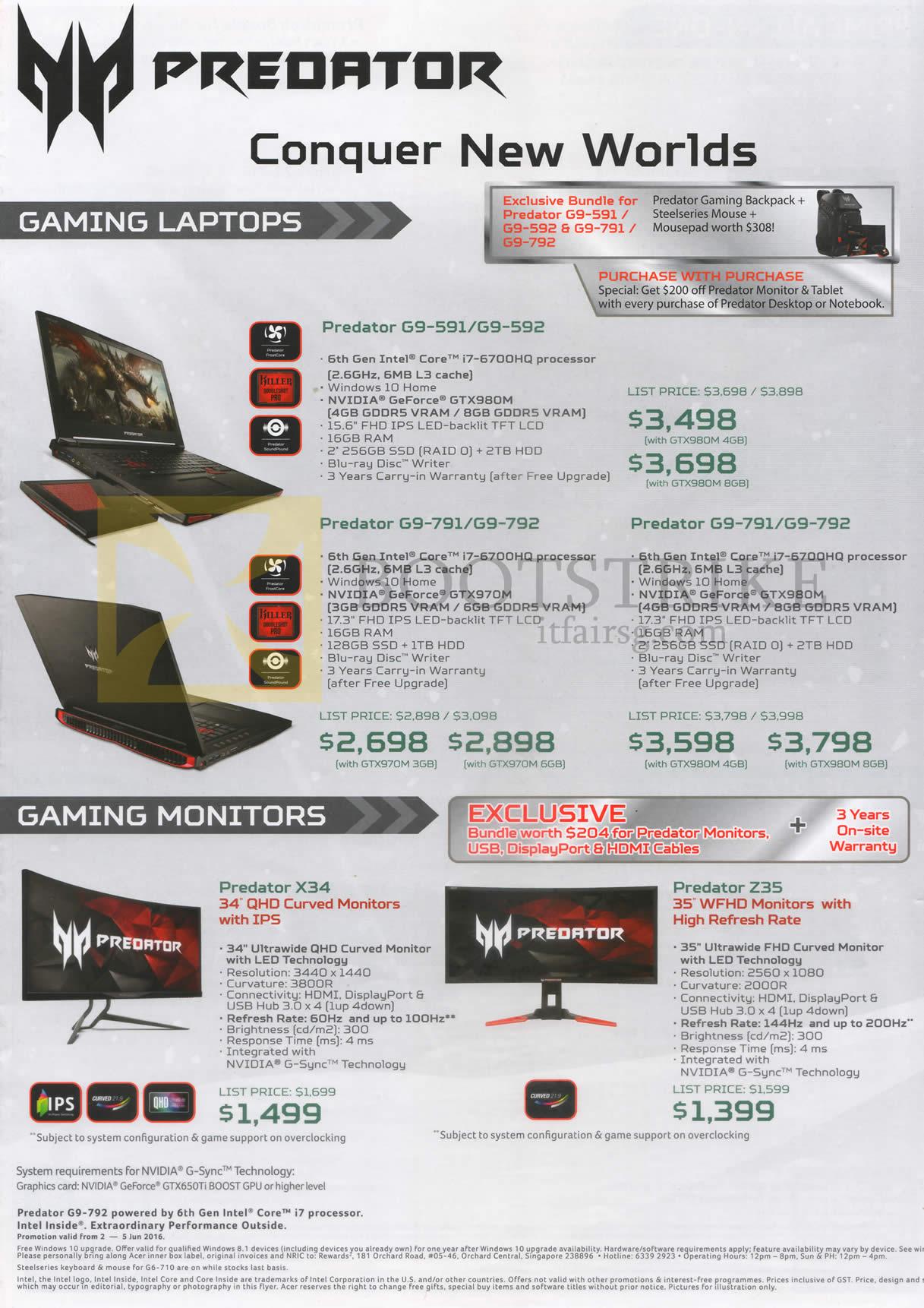 PC SHOW 2016 price list image brochure of Acer Predator Notebooks, Monitors, G9-591, 592, 791, 792, Predator X34, Z35