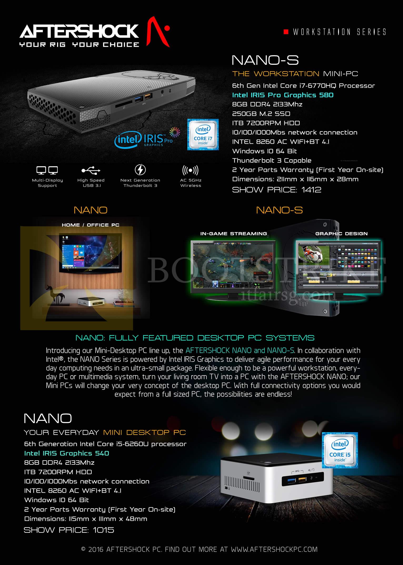PC SHOW 2016 price list image brochure of Aftershock Desktop PCs Nano, Nano-S Workstation