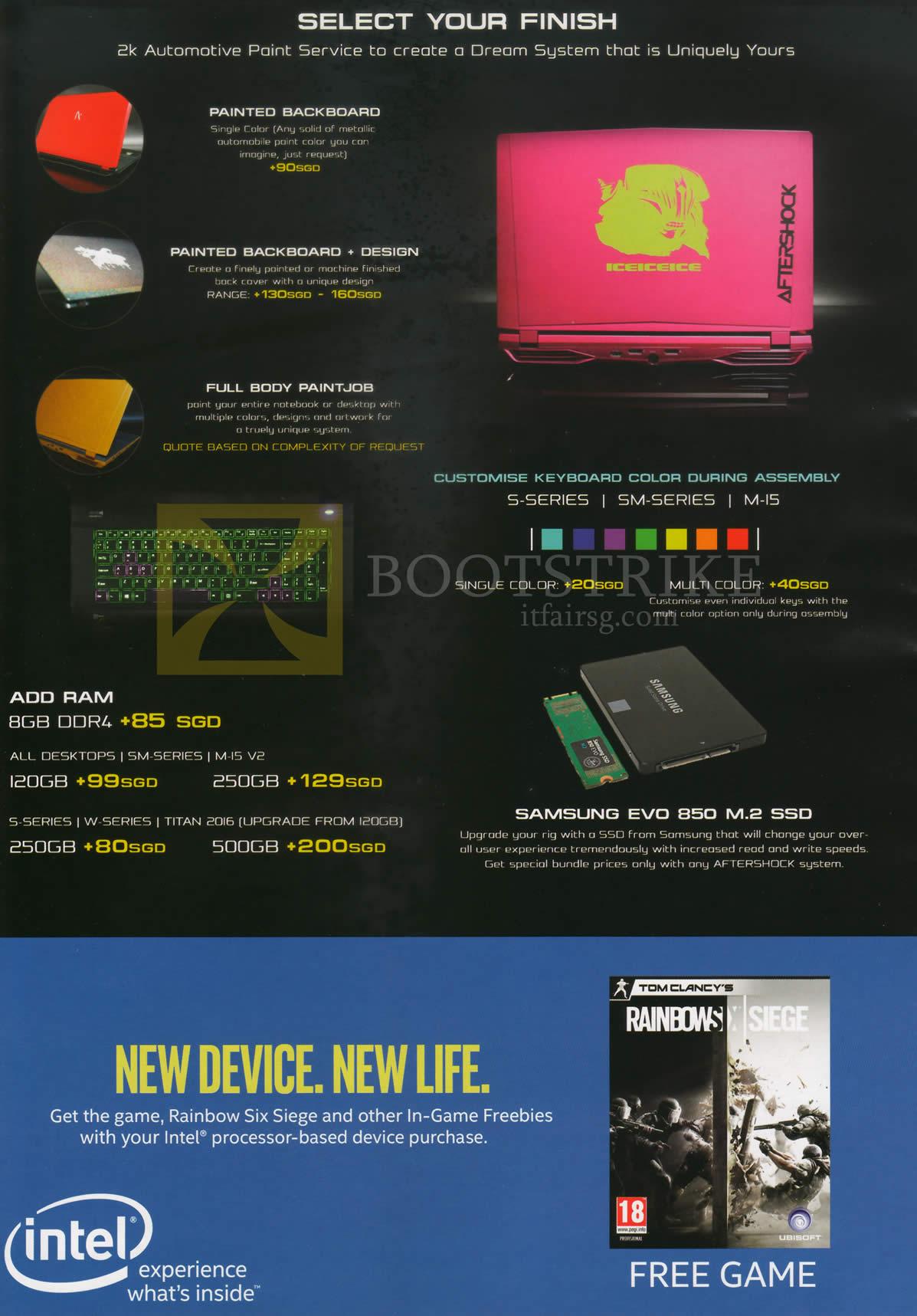 PC SHOW 2016 price list image brochure of Aftershock Notebook Customisation, Finish, RAM, SSD Evo 850 M