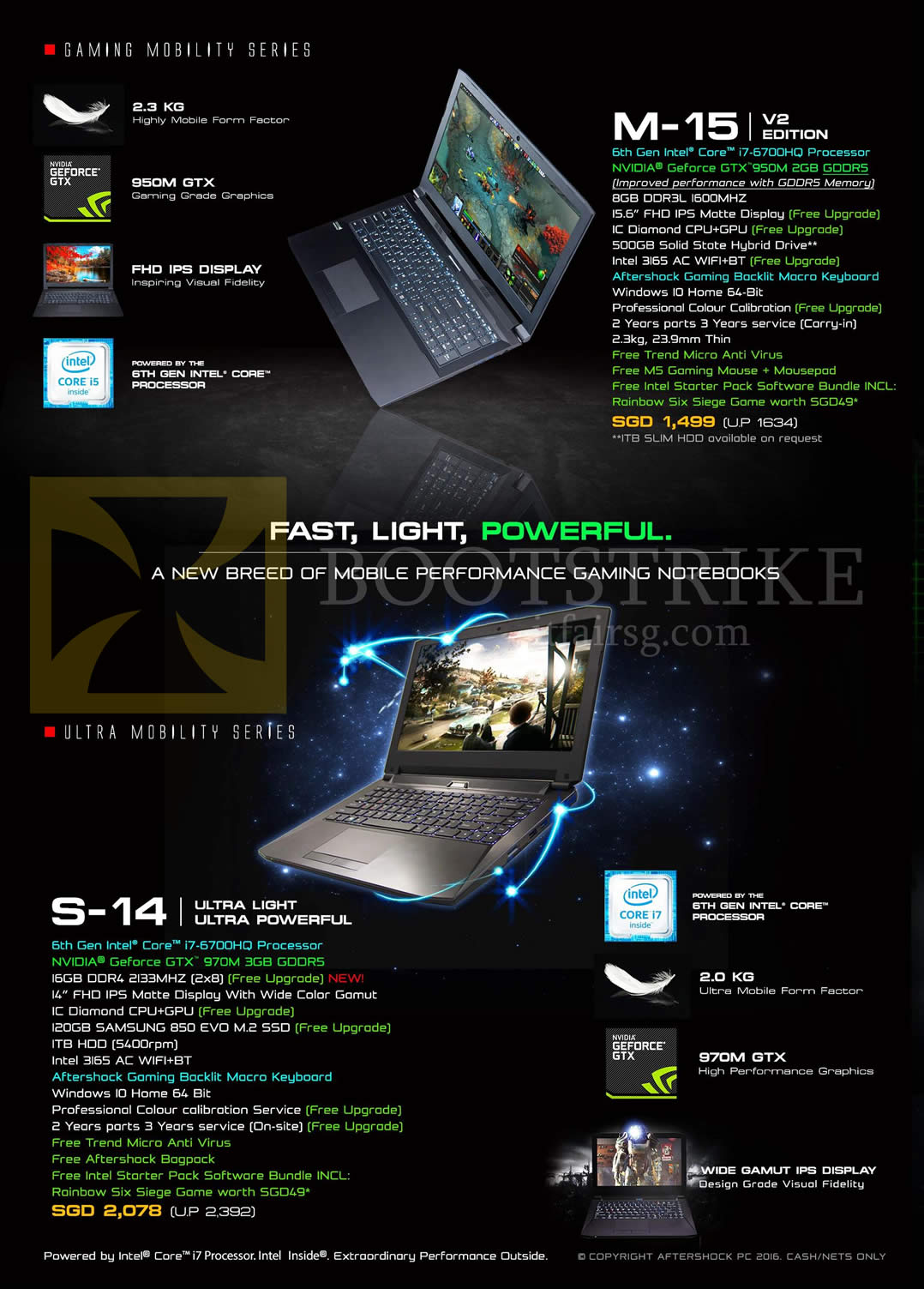 PC SHOW 2016 price list image brochure of Aftershock Notebooks M-15 V2 Edition, S-14