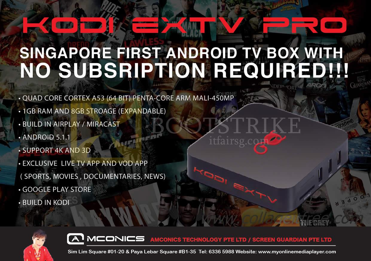 PC SHOW 2016 price list image brochure of Amconics Kodi Extv Pro Android TV Box