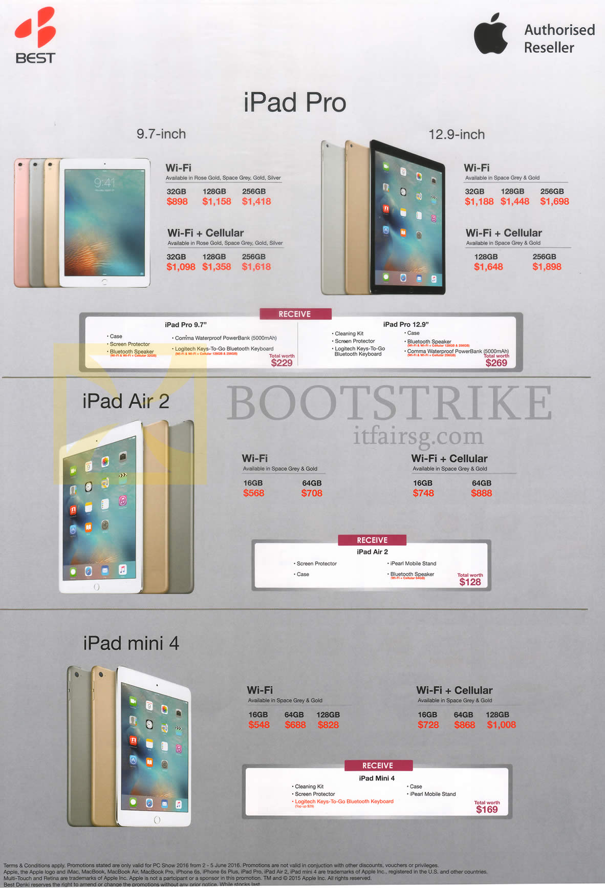PC SHOW 2016 price list image brochure of Apple Tablets IPad Pro 9.7, 12.9, IPad Air 2, IPad Mini 4, 16GB, 32GB, 64GB, 128GB, 256GB