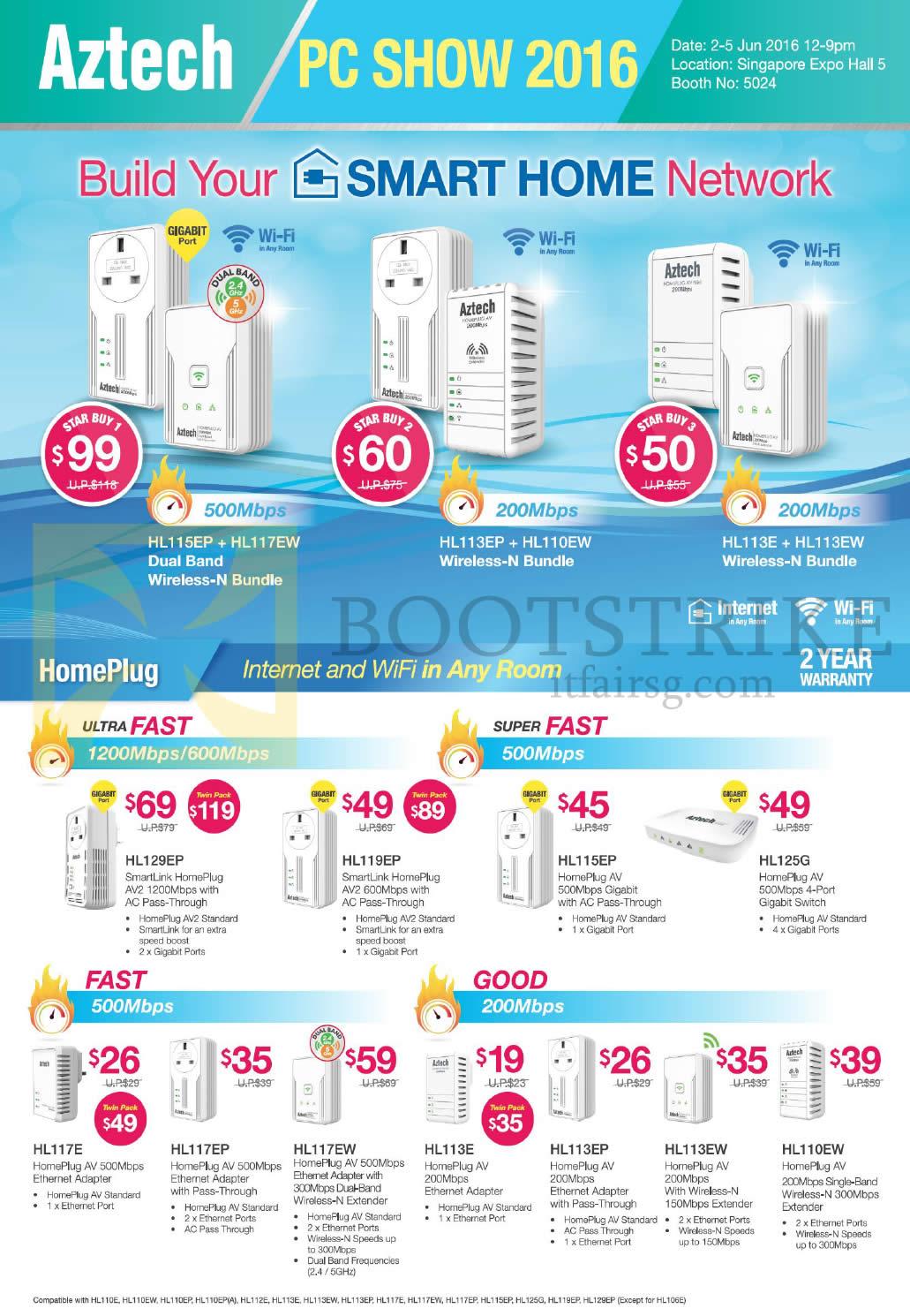 PC SHOW 2016 price list image brochure of Aztech Networking Homeplug, HL129EP, 119EP, 115EP, 125G, 117E, 117EP, 117EW, 113E, 113EP, 113EW, 110EW