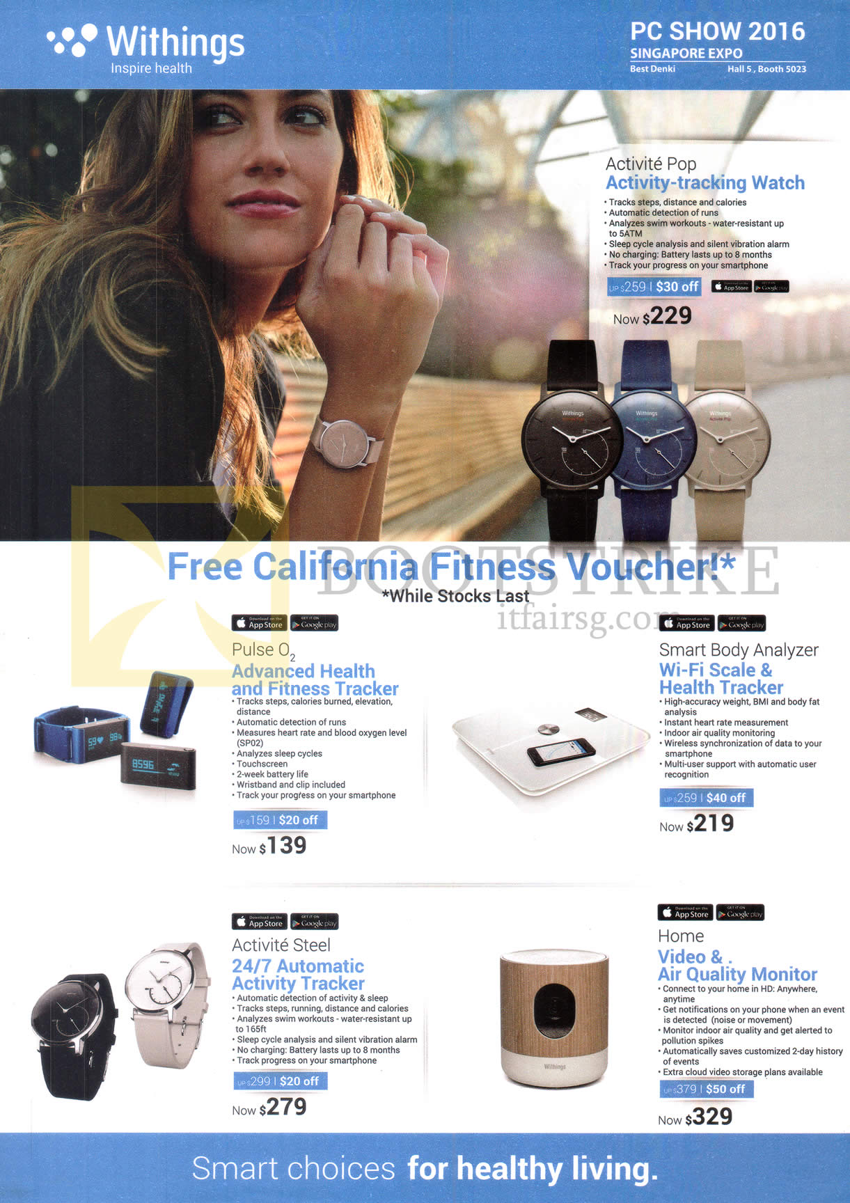 PC SHOW 2016 price list image brochure of Best Demlo Withings Activity Trackers, Scale, Watch, Air Quality Monitor, Activite Pop, Pulse O2, Activite Steel, Smart Body Analyzer, Home