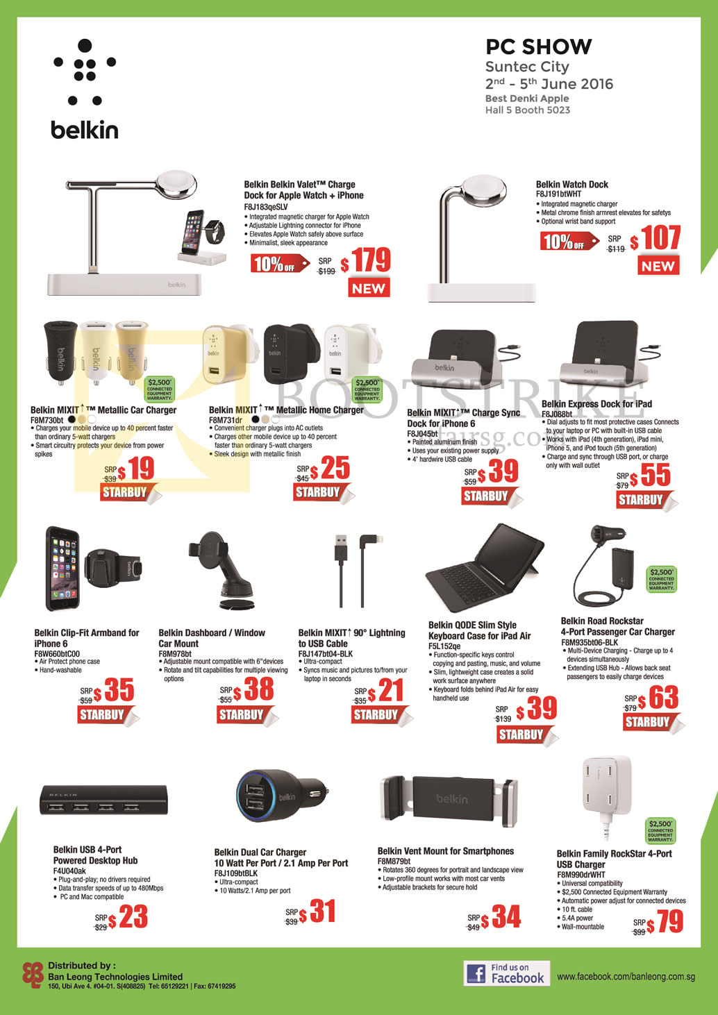 PC SHOW 2016 price list image brochure of Best Denki Belkin Valet Charge, Watch Dock, Mixit Car Charger, Express Dock, Sync Dock, Hub, Cable, Keyboard Case, Lightning USB