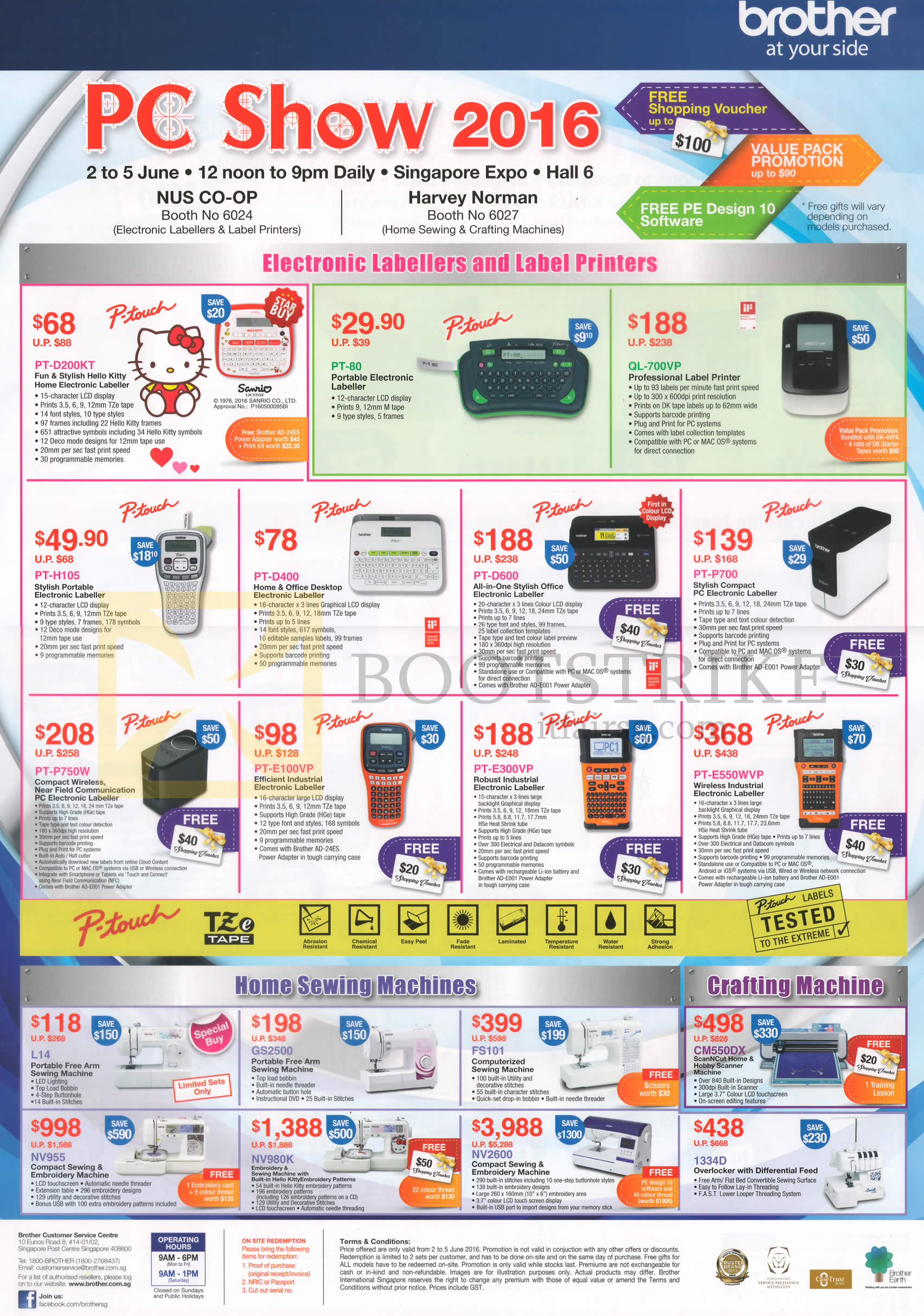 PC SHOW 2016 price list image brochure of Brother Labellers P-Touch, Sewing Machines, Crafting Machines, PT-D200KT, 80, H105, D400, D600, P700, QL-700VP, L14, GS2500, FS101, NV955, NV980K, 2600