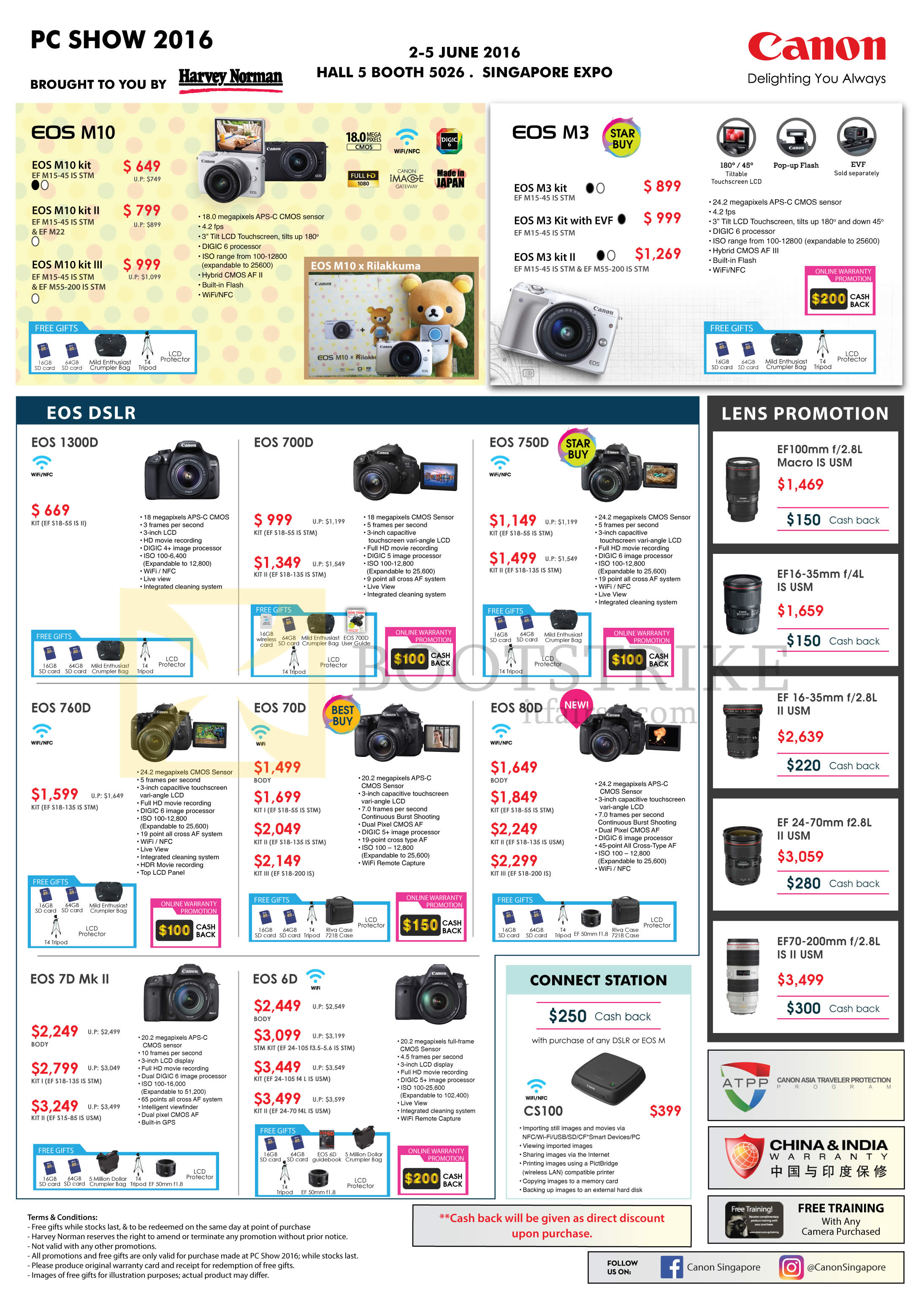 PC SHOW 2016 price list image brochure of Canon DSLR Digital Cameras, Connect Station, EOS M10, 1300D, 760D, 7D Mk II, 700D, 70D, 6D, 750D, 80D, CS100