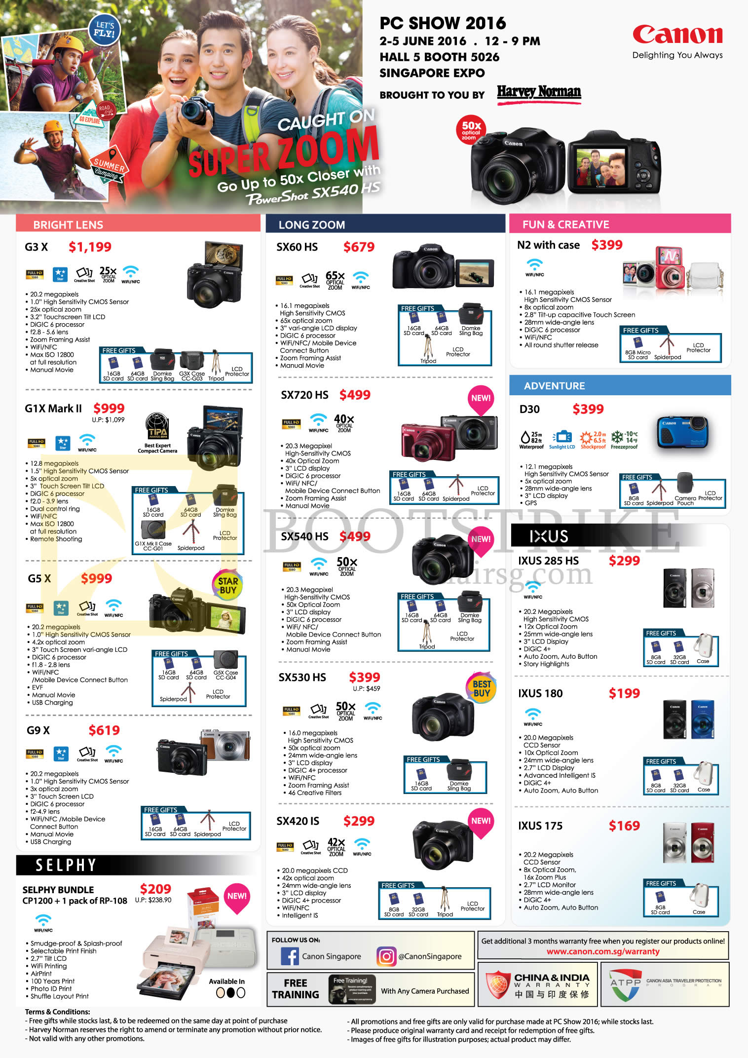 PC SHOW 2016 price list image brochure of Canon Digital Cameras Powershot G3 X, N2, G1X Mark II, GS X, G9 X, Selphy CP1200, SX60 HS, SX720HS, SX540 HS, SX530 HS, SX 420 IS, D30, IXUS 180, 175