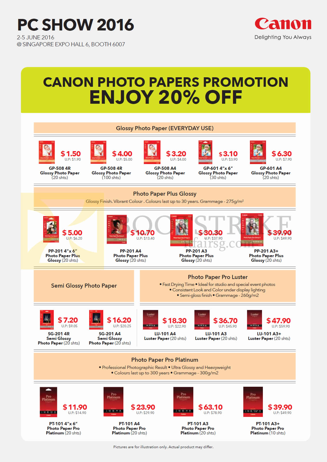 PC SHOW 2016 price list image brochure of Canon Photo Papers Promotion GP-508, 601, PP-201, SG-201, LU-101, PT-101