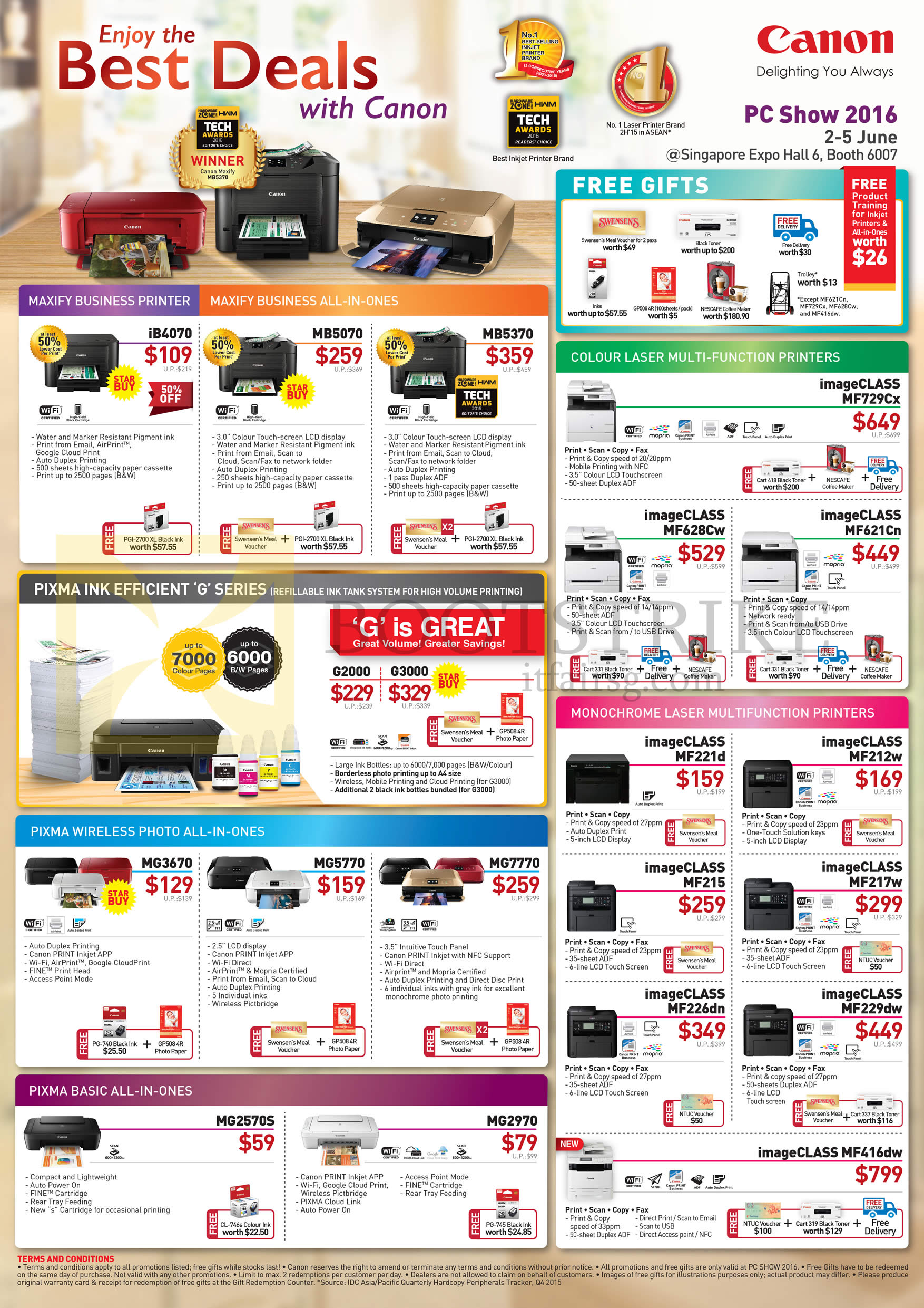 PC SHOW 2016 price list image brochure of Canon Printers Pixma IB4070, MB5070, MB5370, G2000, G3000, MG3670, MG5770, MG7770, MG2570S, MG2970, ImageCLASS MF729Cx, MF628Cw, MF621Cn, MF221d, MF212w