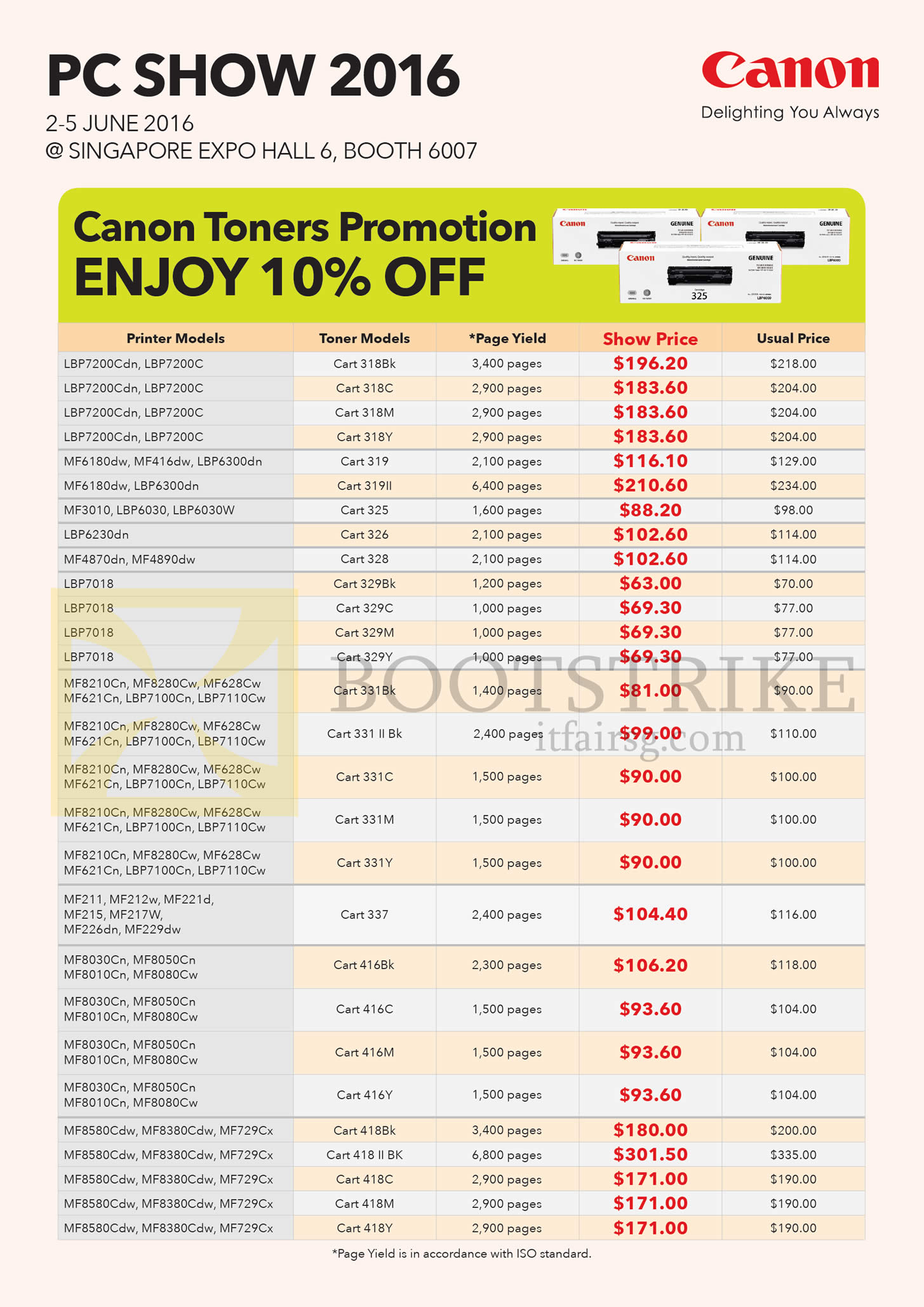 PC SHOW 2016 price list image brochure of Canon Toners Promotion 10 Percent Off