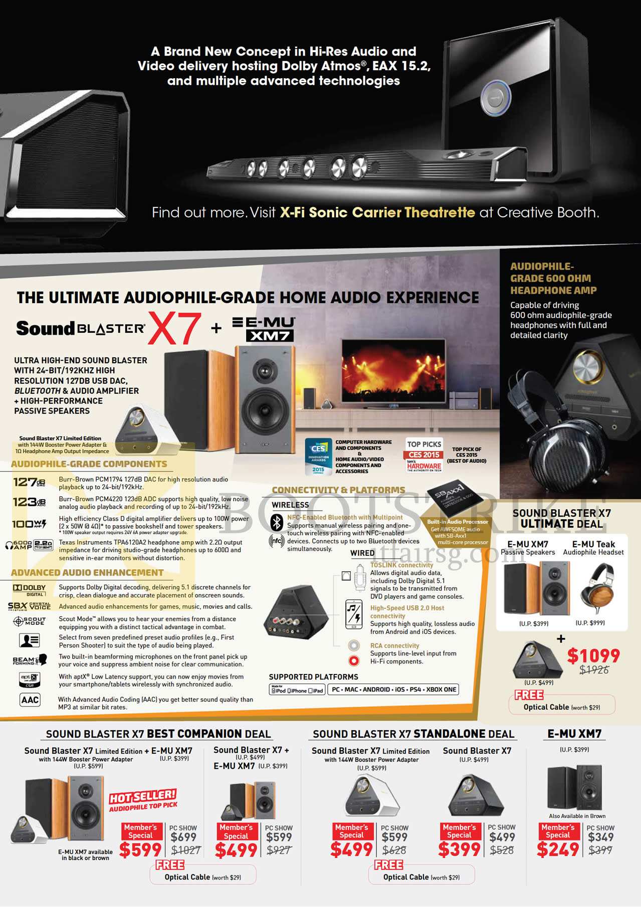 PC SHOW 2016 price list image brochure of Creative Speaker Deals Sound Blaster X7, X7 Best Companion, Stand Alone, E-MU XM7