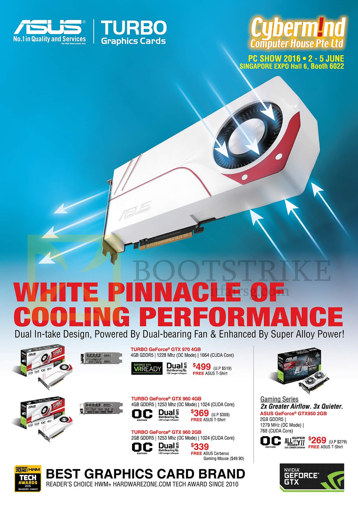 PC SHOW 2016 price list image brochure of Cybermind ASUS Graphics Video Card Turbo Geforce GTX 970, 960, 950