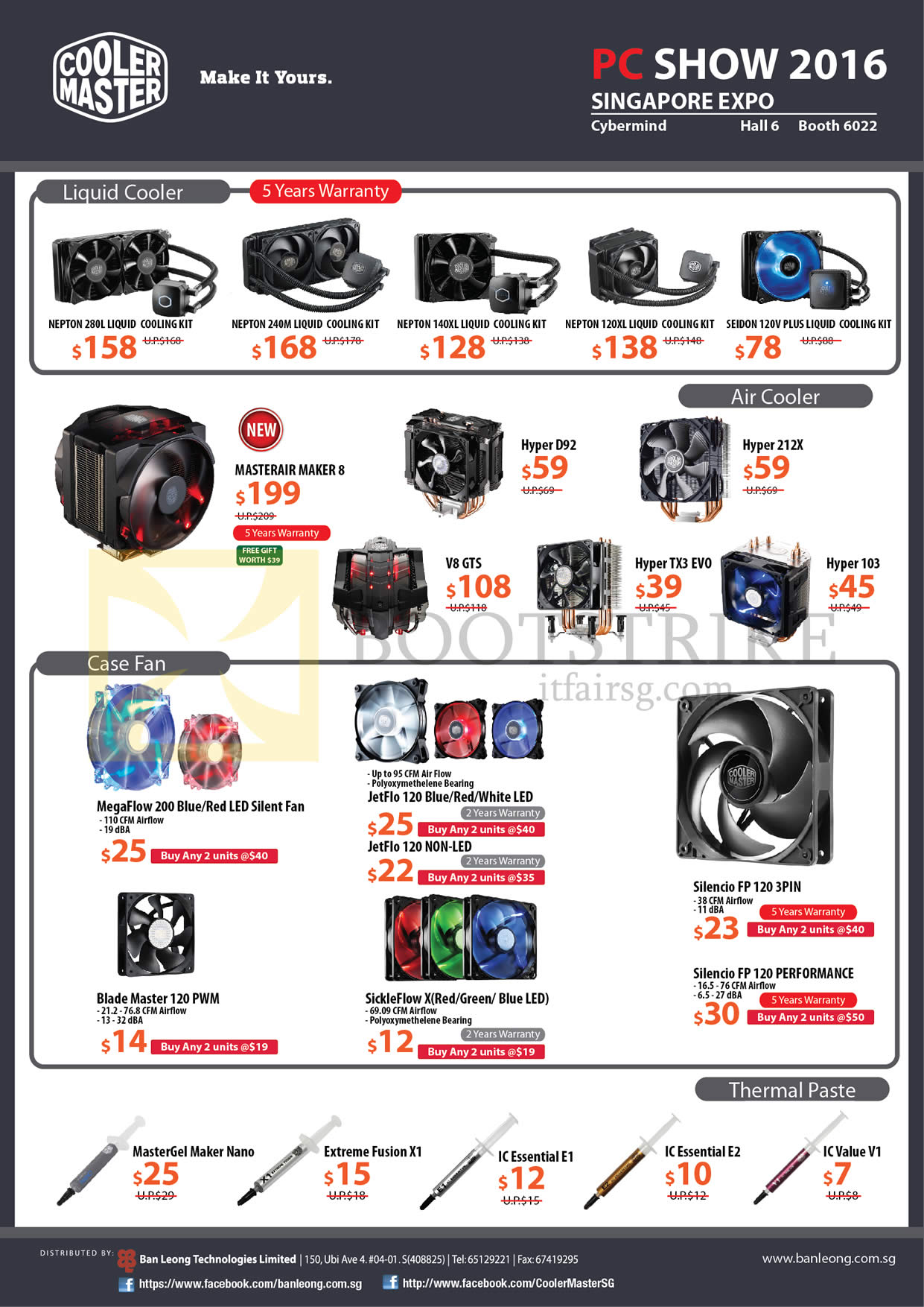 PC SHOW 2016 price list image brochure of Cybermind Cooler Master Liquid Coolers, Air Coolers, Case Fans, Thermal Paste