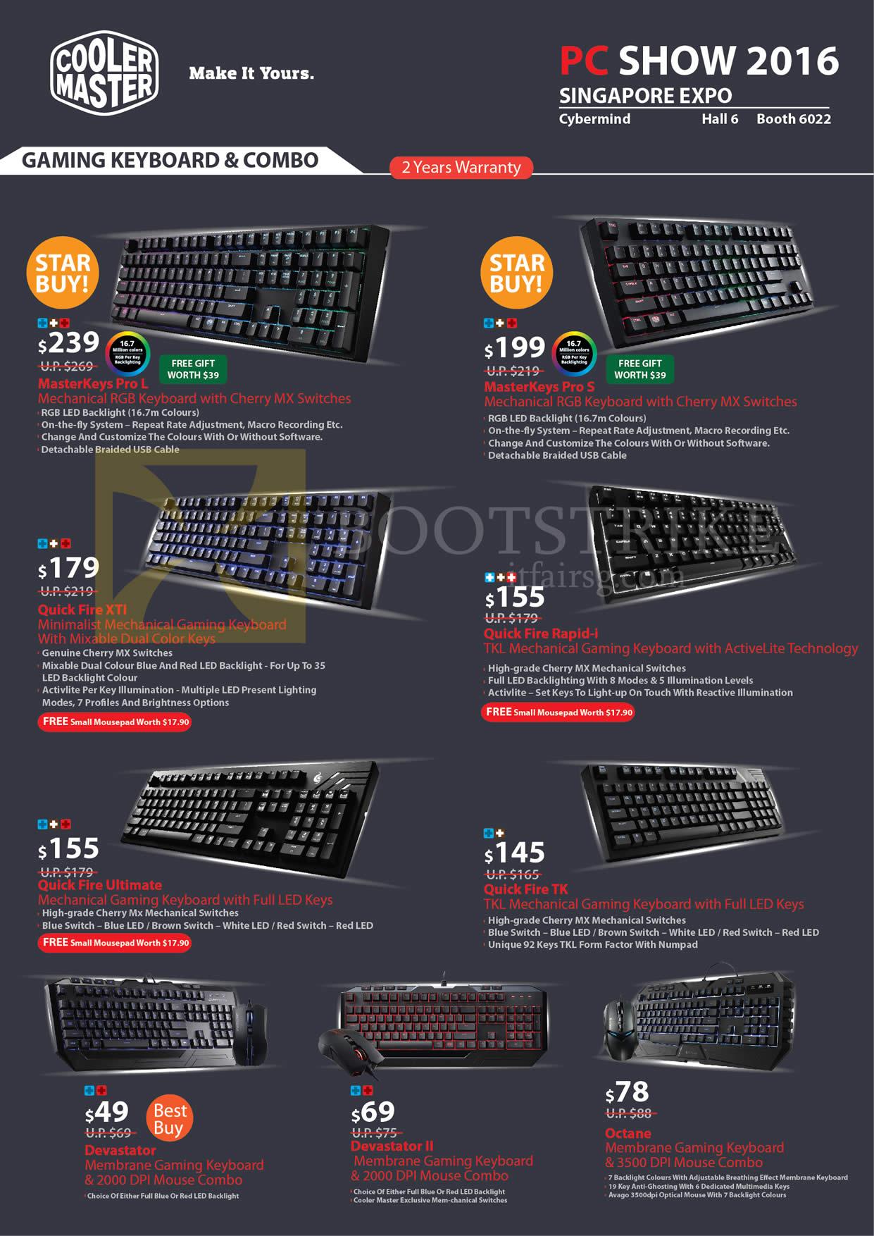PC SHOW 2016 price list image brochure of Cybermind Cooler Master Mechanical Keyboards, MasterKeys, Quick Fire, Devastator, Octane