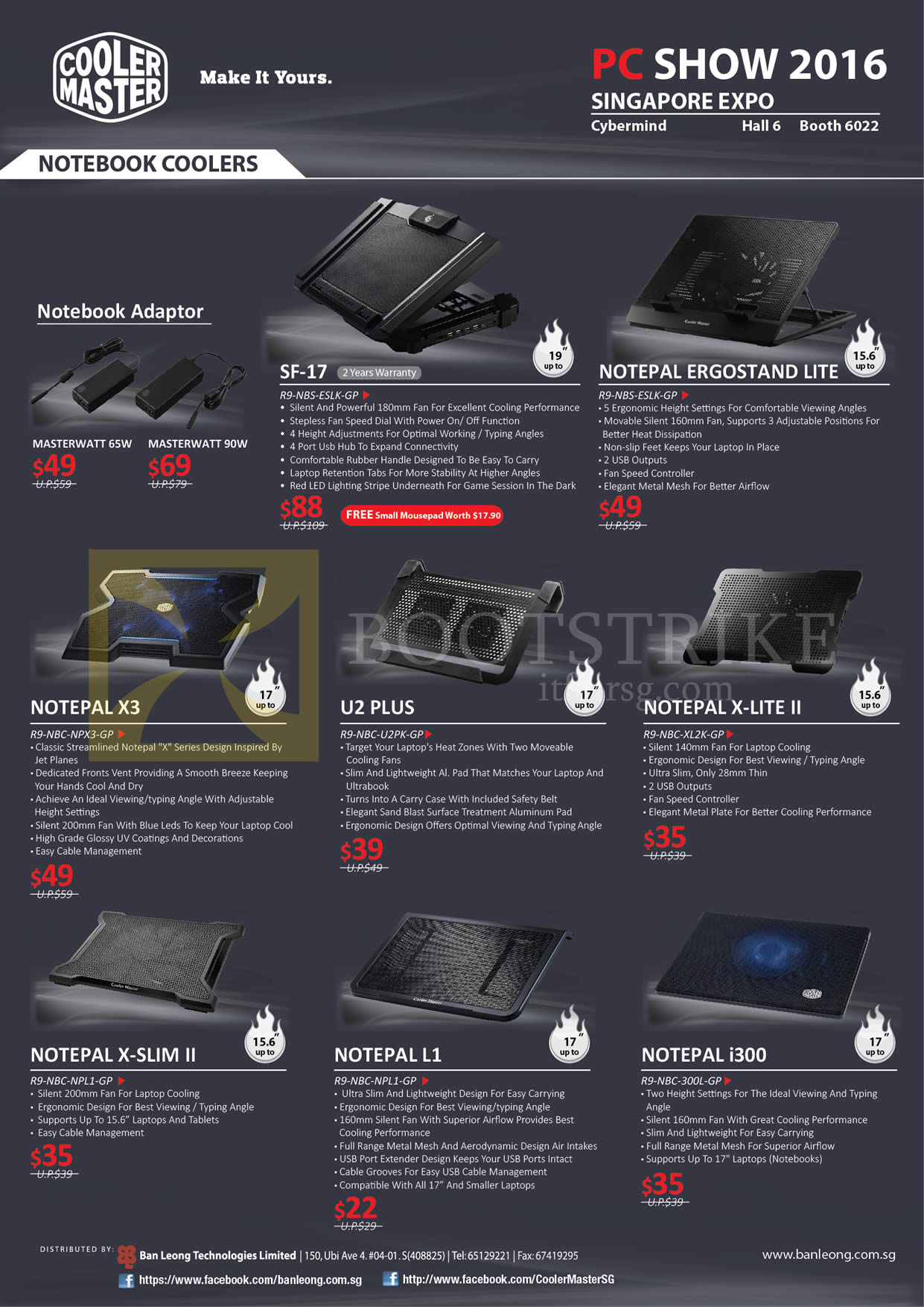 PC SHOW 2016 price list image brochure of Cybermind Cooler Master Notebook Coolers, Notepal, U2 Plus