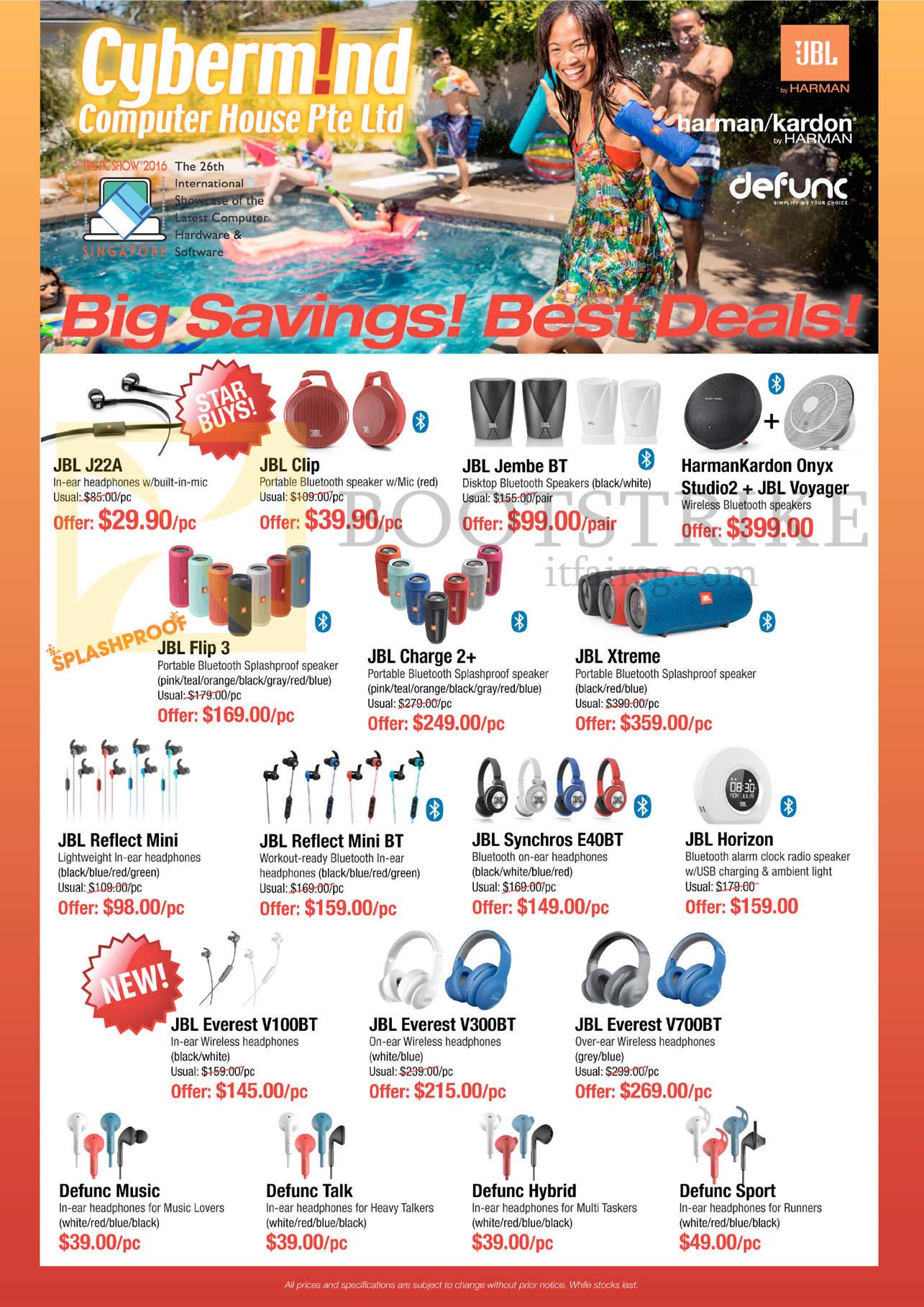 PC SHOW 2016 price list image brochure of Cybermind JBL Earphones, Headphones, Speakers, J22A, Clip, Jembe BT, Flip 3, Charge 2 Plus, Xtreme, Reflect Mini, Mini BT, Synchros E40BT, Horizon, Everest