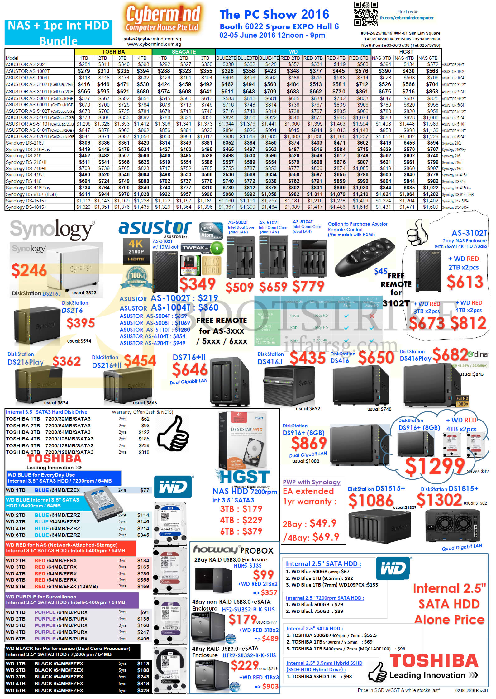 PC SHOW 2016 price list image brochure of Cybermind NAS, Hard Disk Drives, Synology, Asustor, Toshiba, WD, HGST, DS216Play, 216plusII, 716plus II, 416J, 416, 416Play, 916plus, 1515plus, 1815plus