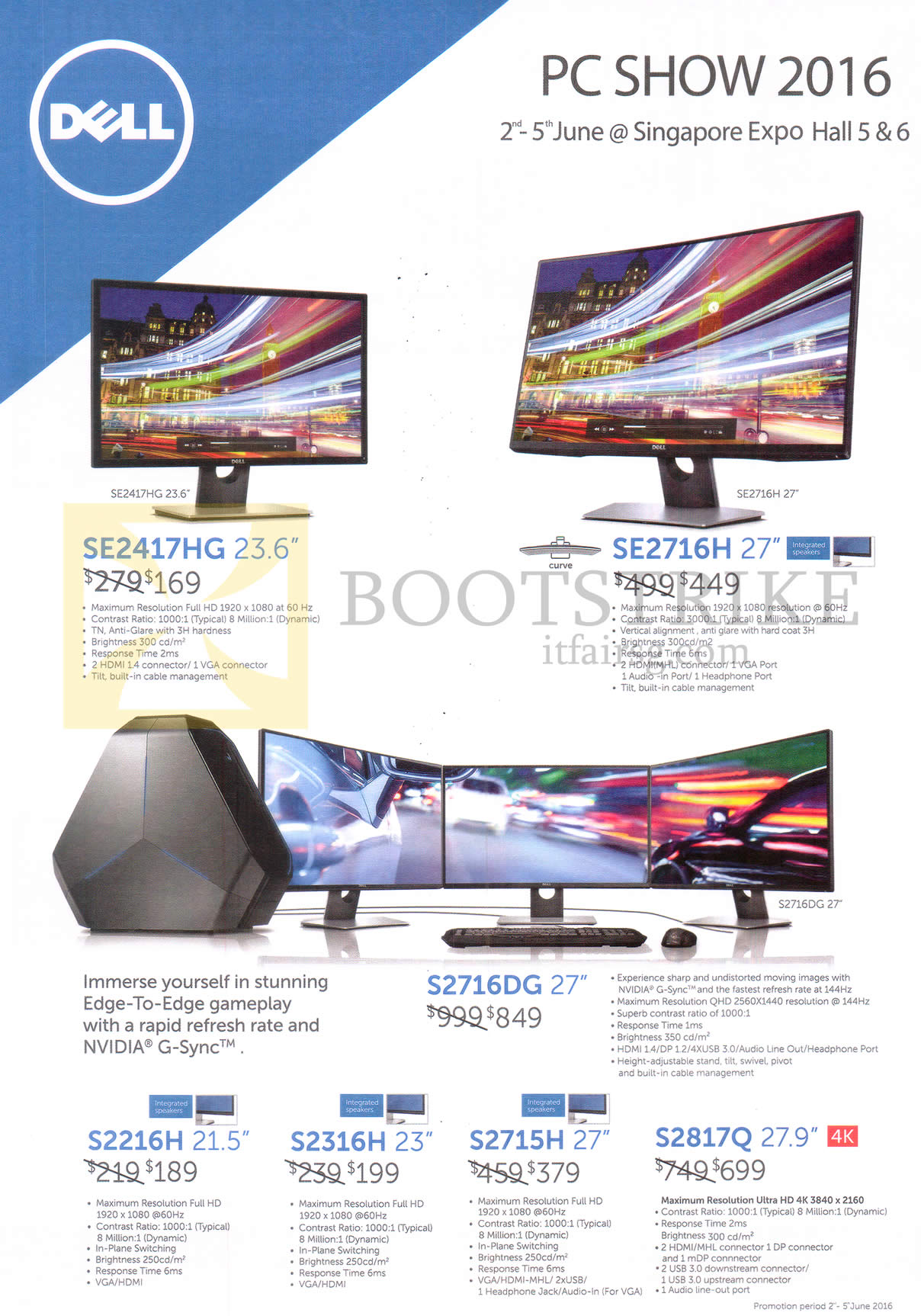 PC SHOW 2016 price list image brochure of Dell Monitors SE2417HG, SE2716H, S2716DG, S2216H, S2316H, S2715H, S2817Q