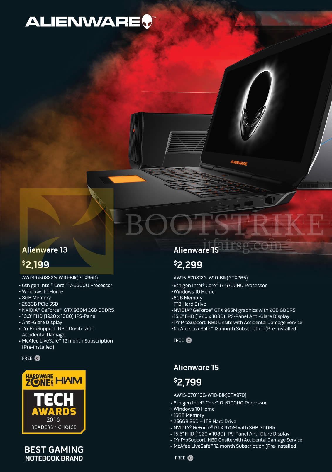 PC SHOW 2016 price list image brochure of Dell Notebooks Alienware 13 AW13 650822G W10 Blk, AW15 670812G W10 Blk, 670113G W10 Blk