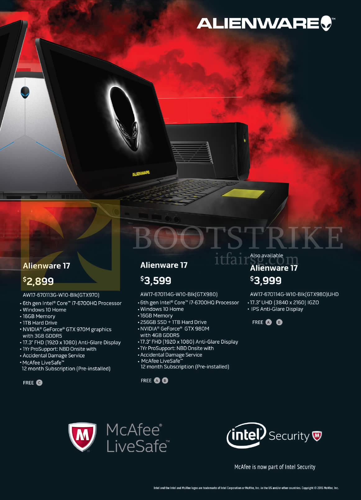 PC SHOW 2016 price list image brochure of Dell Notebooks Alienware 17 AW17-670113G-W10-Blk, 670114G-W10-Blk, 670114G-W10-Blk