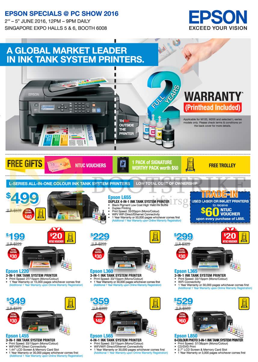 Epson Printers L655 L220 L360 L365 L455 L565 L850 Pc